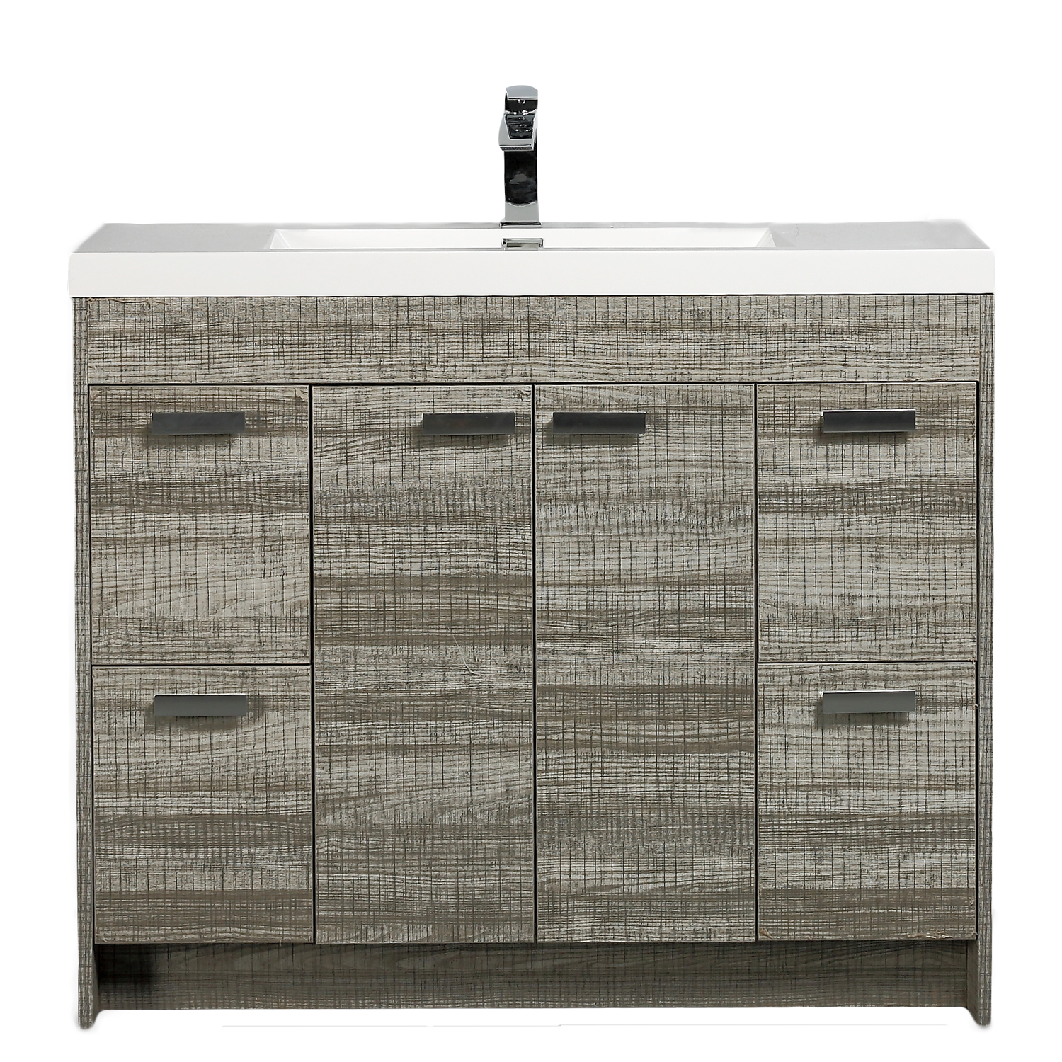 "EVVN1200 8 48ASH A Main - Eviva Lugano 48""  Ash Modern Bathroom Vanity with White Integrated Acrylic Sink"