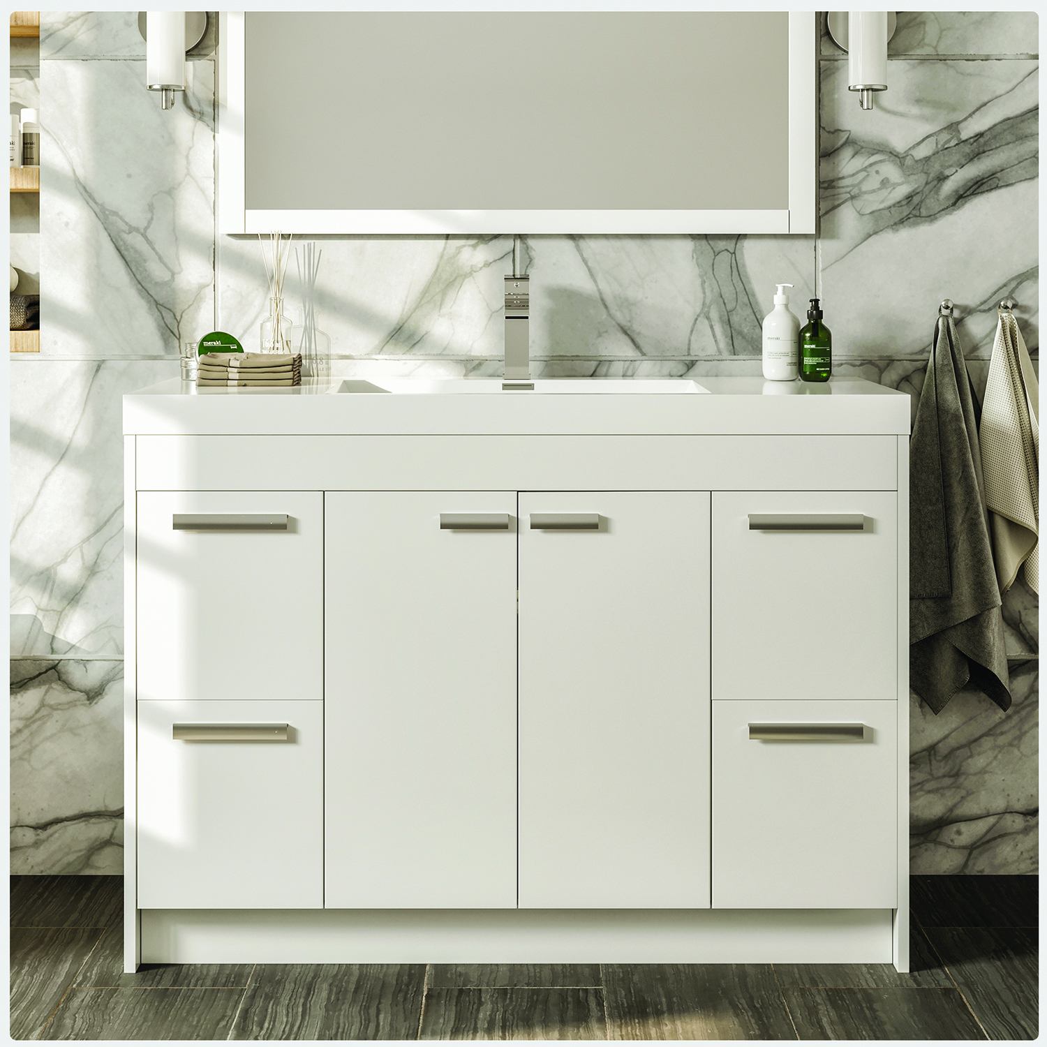 Iva lugano 48 white modern bathroom vanity with white for Modern white bathroom vanity