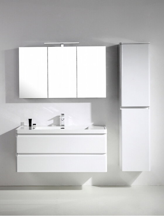 "EVVN1200 SS 48WH WM A Main - Eviva Glazzy 48"" Wall Mount Modern Bathroom Vanity with Single Sink (High Glossy White)"