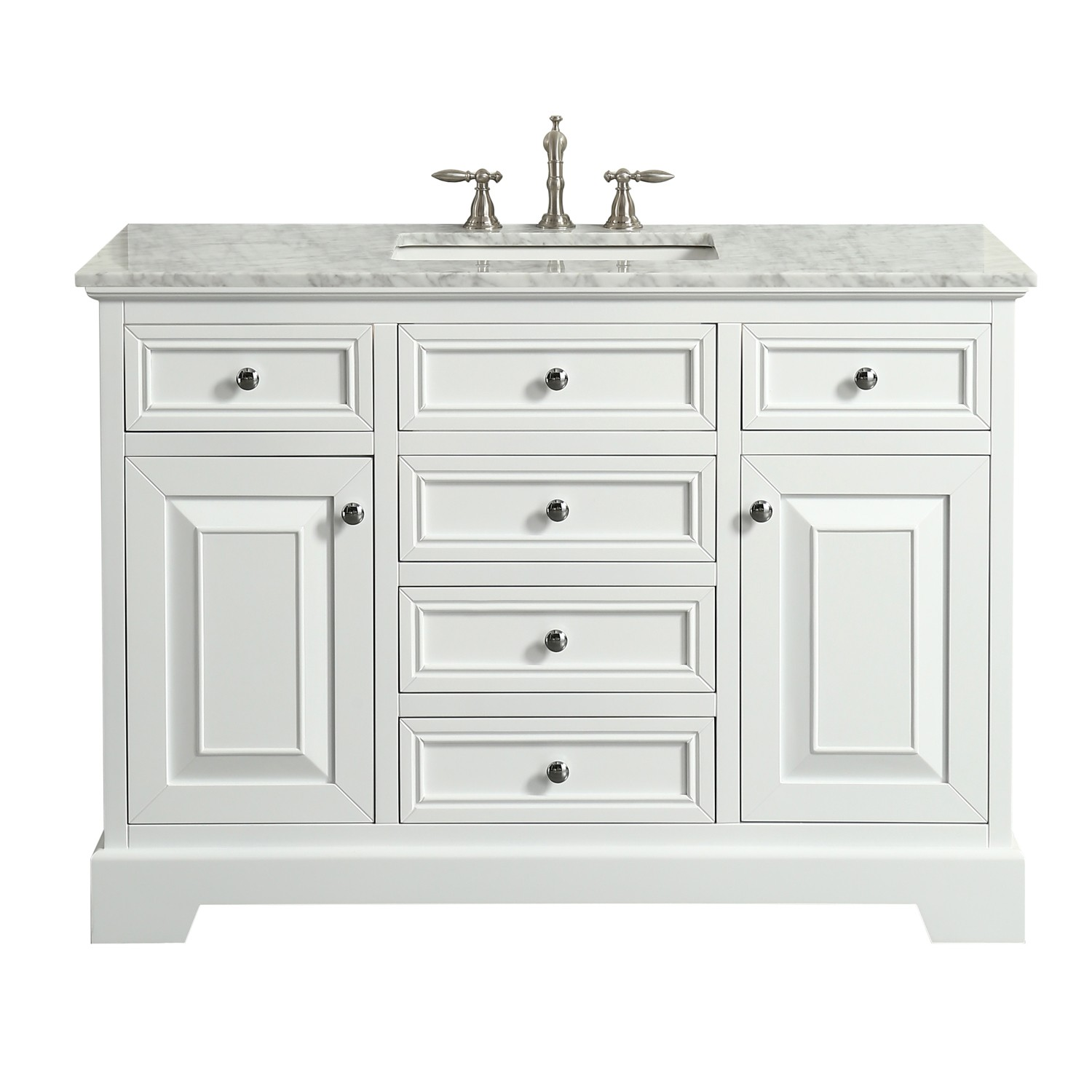 Eviva Monroe 48 In White Bathroom Vanity With White Carrara Marble Top White Undermount Porcelain Sink