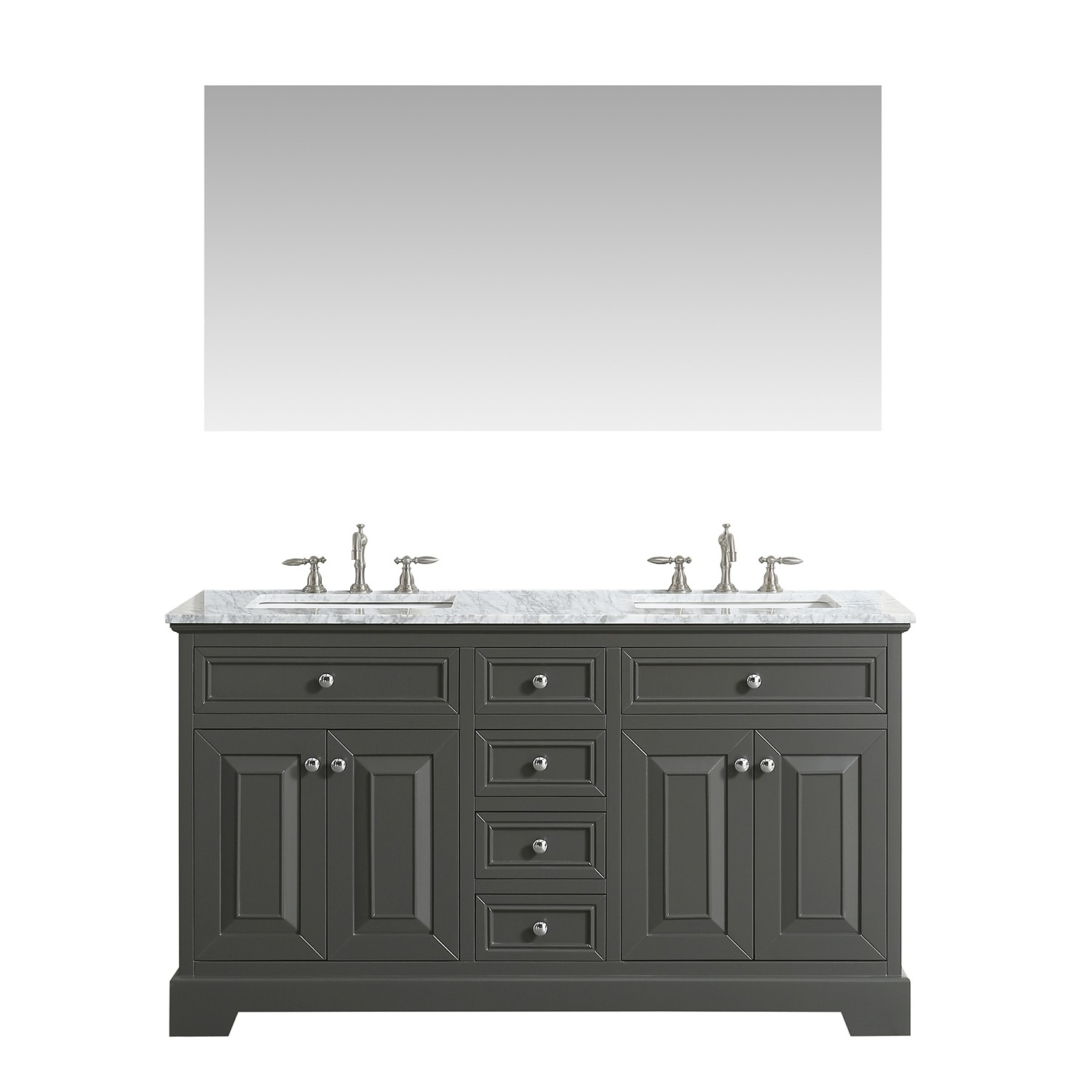 Gray Double Bathroom Vanity With White Carrara Marble Top And Undermount Porcelain Sinks