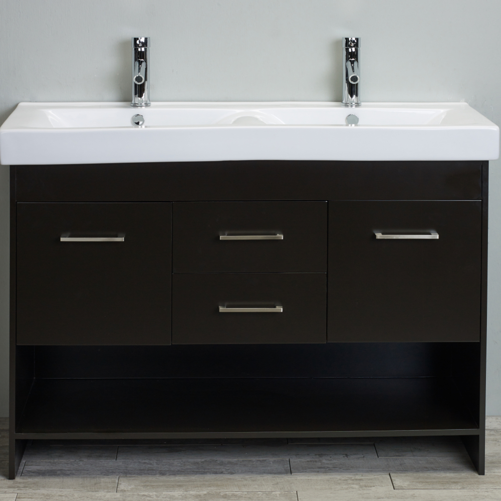 EVVN127 48DE A Main - Totti Gloria 48 inch Espresso Double Sink Bathroom Vanity with White Integrated Double Porcelain Sink