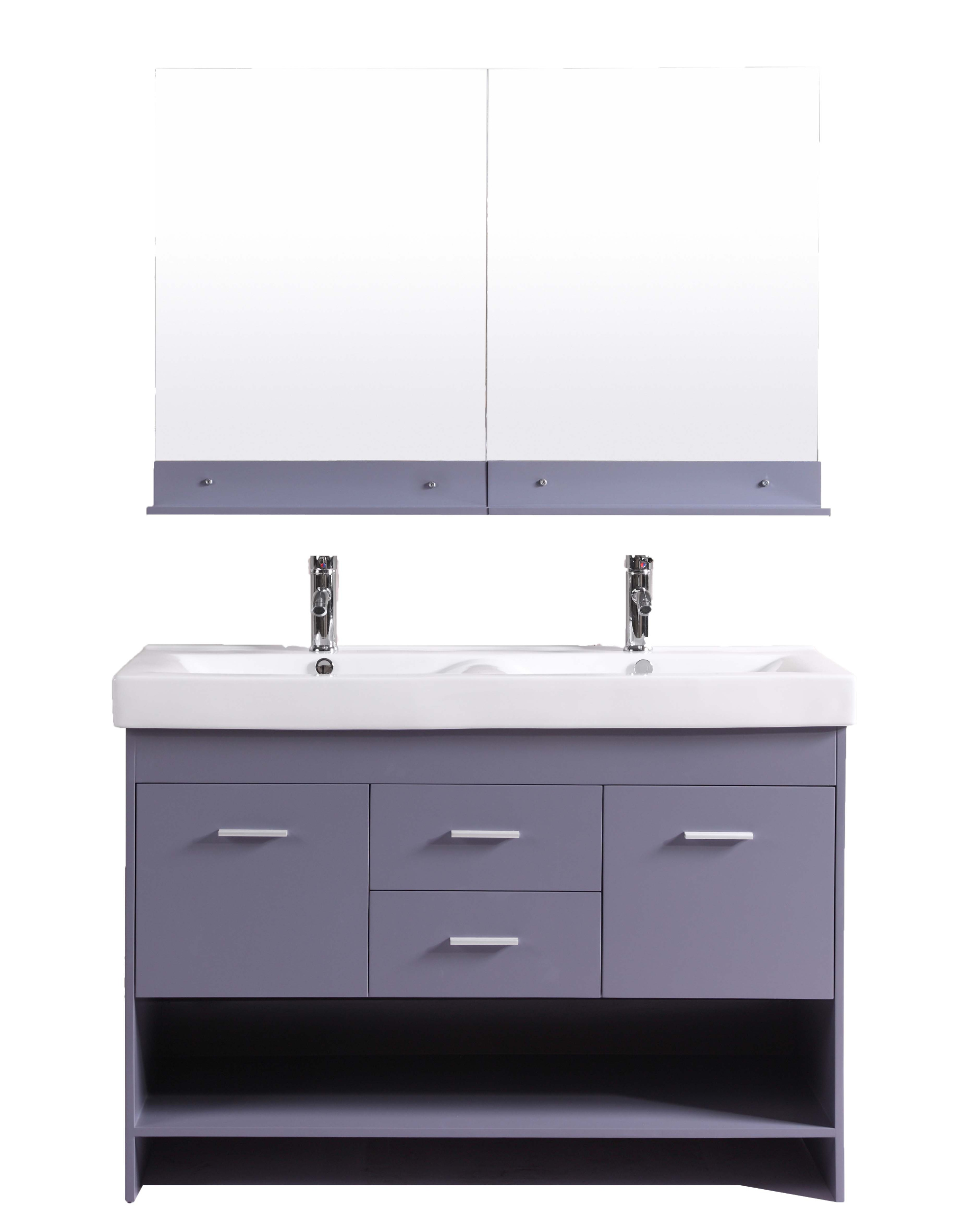 Totti Gloria Inch Grey Double Sink Bathroom Vanity With White - 48 inch grey bathroom vanity