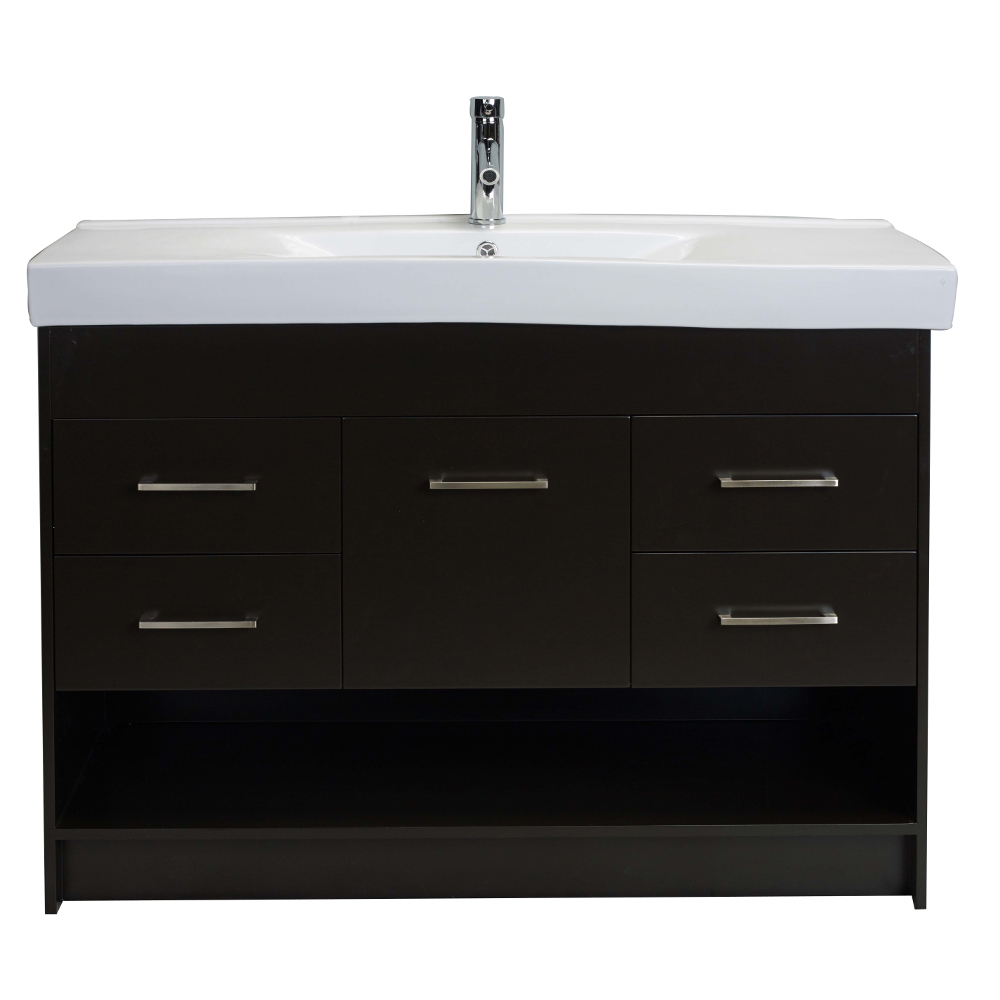 Totti gloria 48 inch espresso bathroom vanity with white integrated porcelain sink decors us for Bathroom vanity with integrated sink