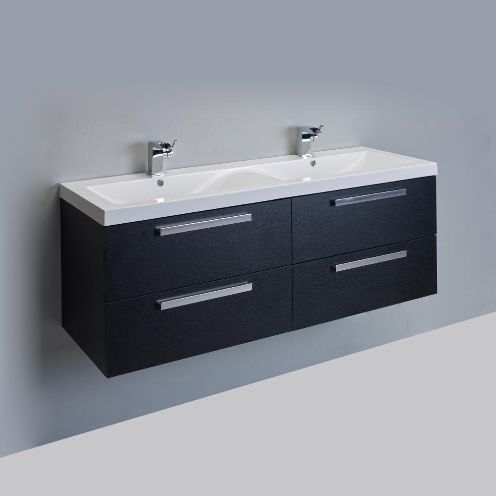 "Black Bathroom Vanity Set: Eviva Surf 57"" Black-Wood Modern Bathroom Vanity Set With"