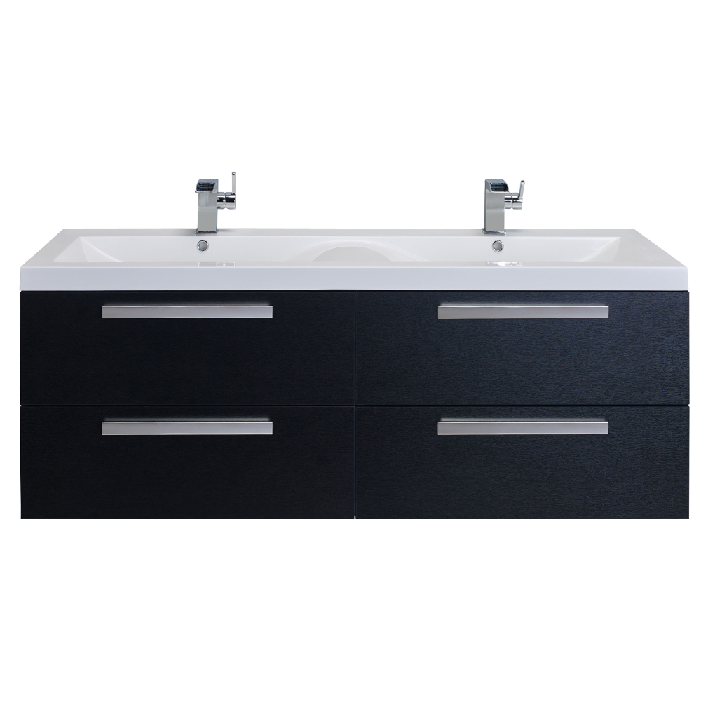 "EVVN144 57BW A Main - Eviva Surf 57"" Black-Wood Modern Bathroom Vanity Set with Integrated White Acrylic Double Sink"