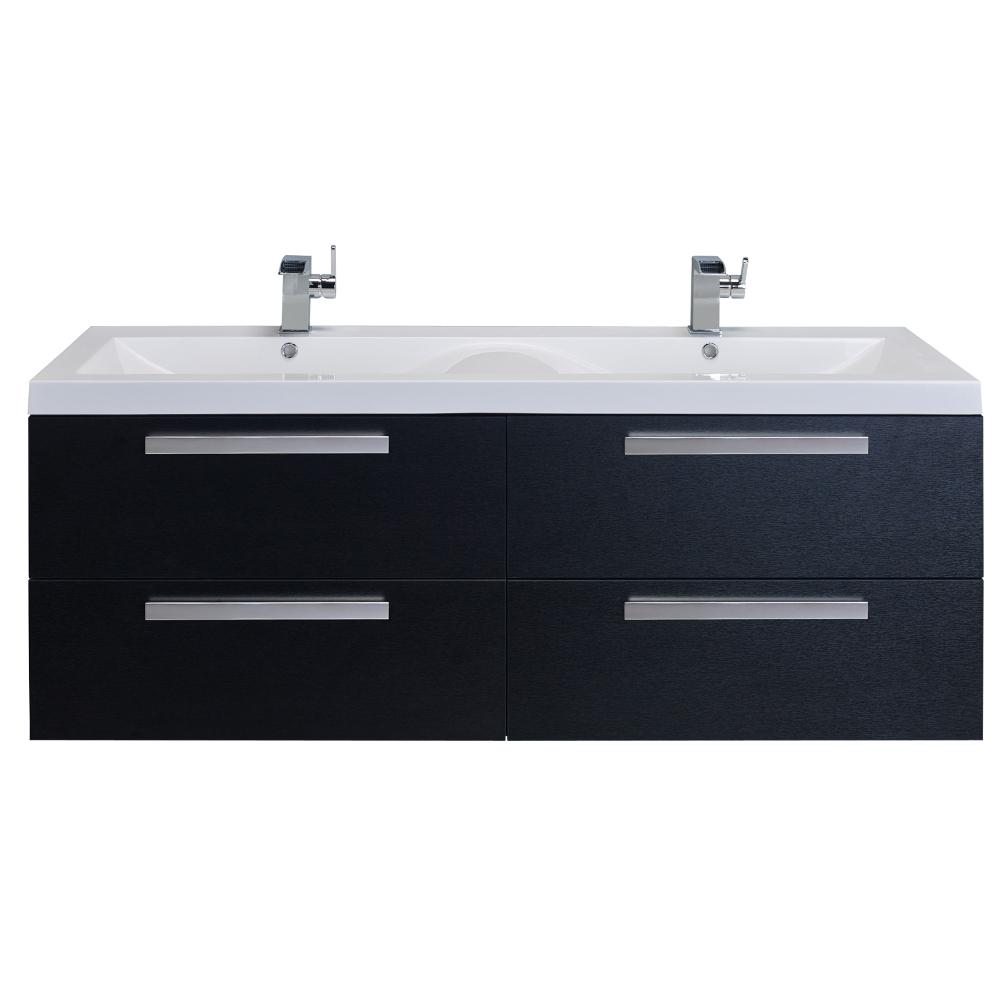 Eviva Surf 57u2033 Black Wood Modern Bathroom Vanity Set With Integrated White  Acrylic Double Sink
