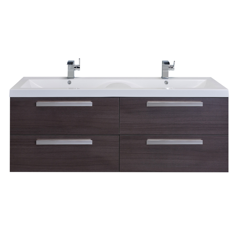Peachy Eviva Surf 57 Grey Oak Modern Bathroom Vanity Set With Integrated White Acrylic Double Sink Beutiful Home Inspiration Truamahrainfo