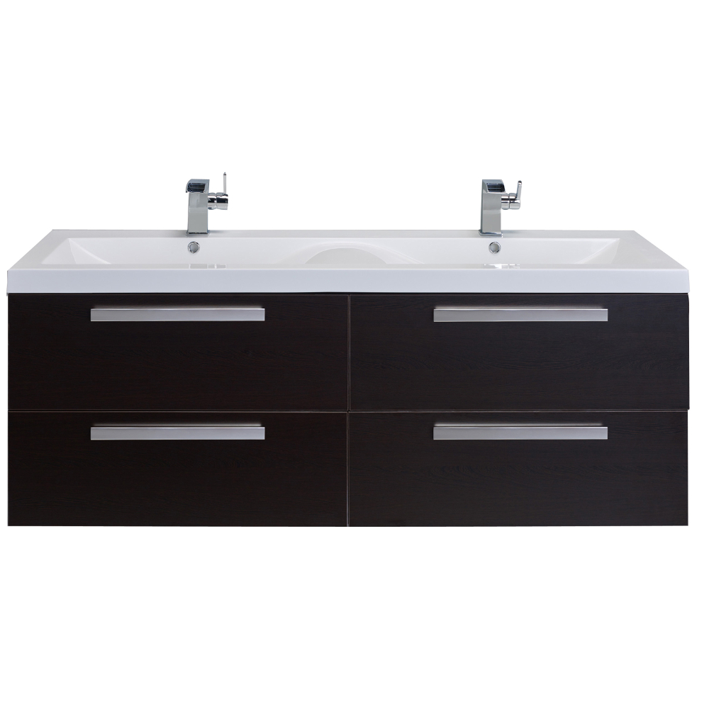 Eviva Surf 57 Wenge Modern Bathroom Vanity Set With Integrated White Acrylic Double Sink