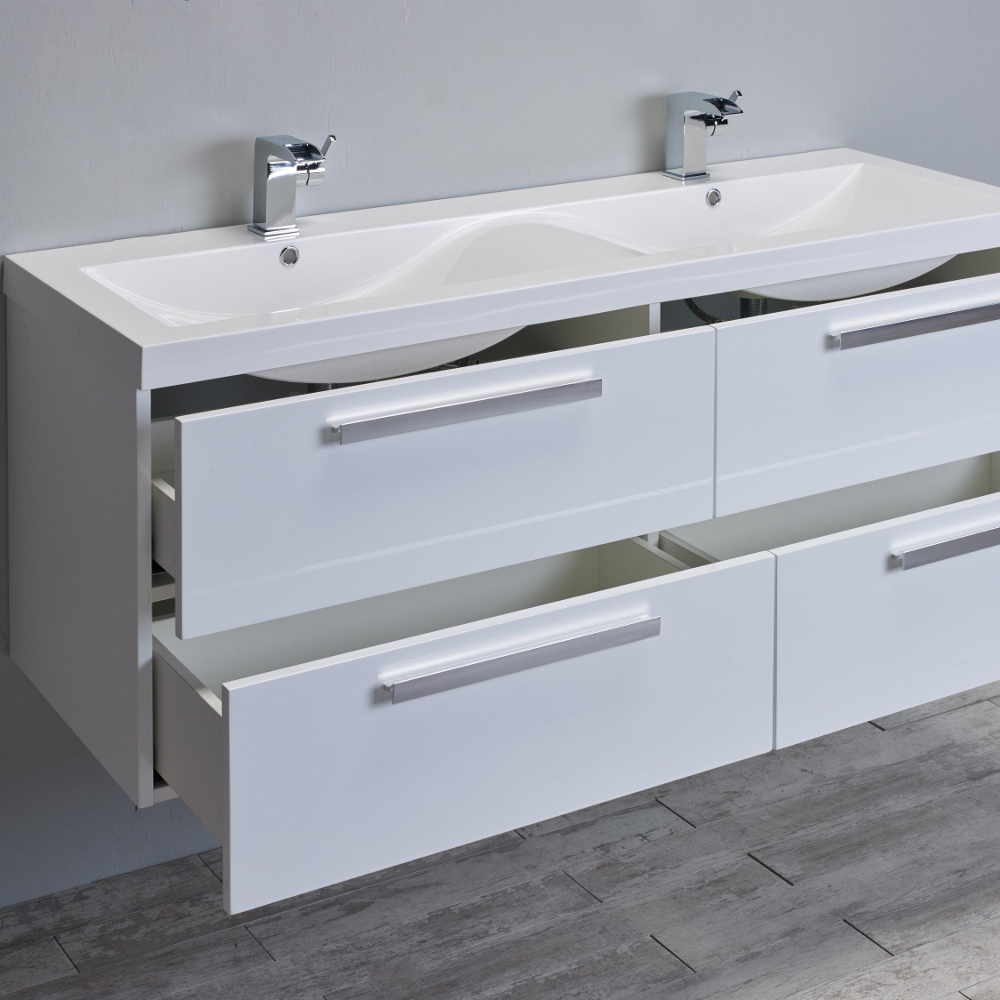Superieur Eviva Surf 57u2033 White Modern Bathroom Vanity Set With Integrated White  Acrylic Double Sink