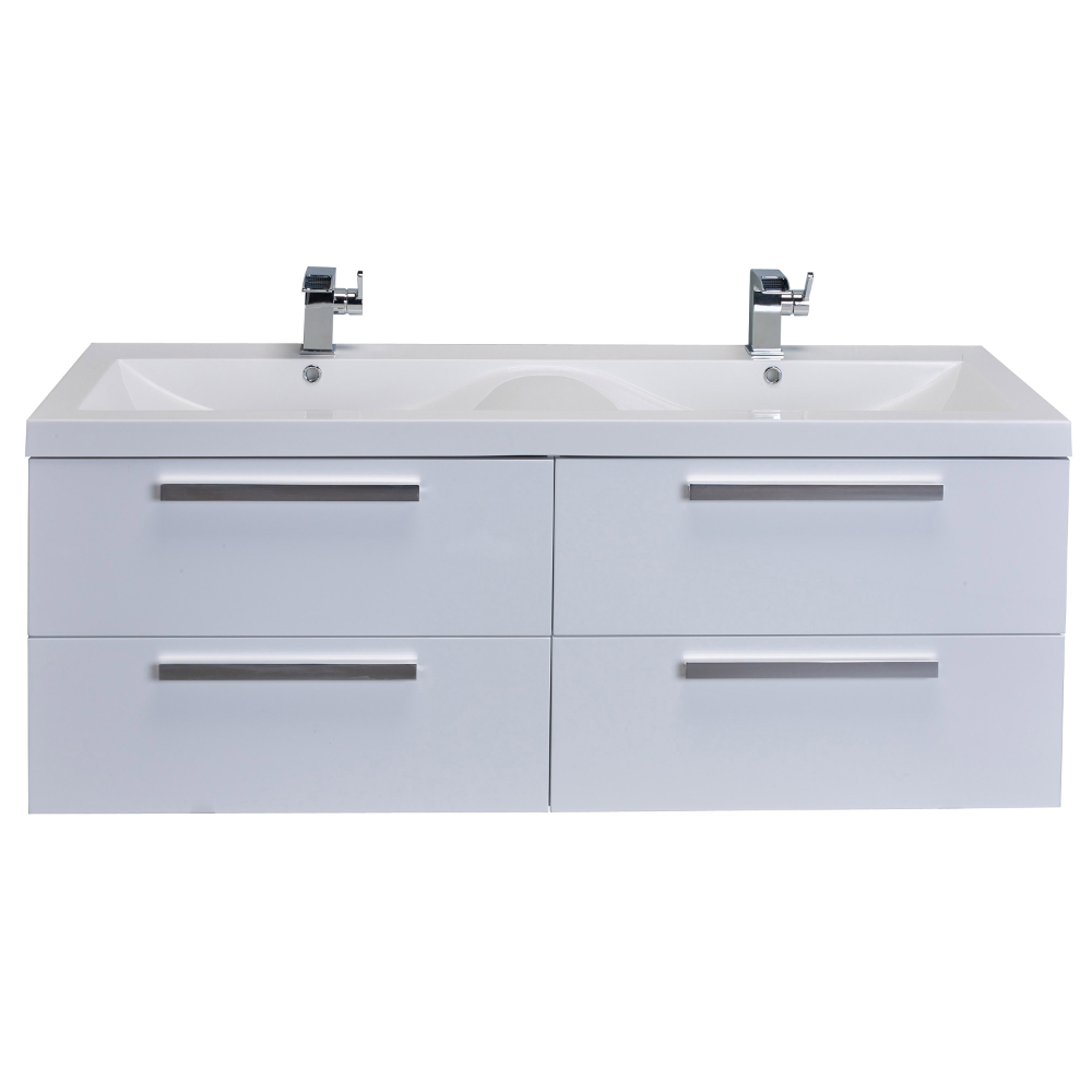 "EVVN144 57WH A Main - Eviva Surf 57"" White Modern Bathroom Vanity Set with Integrated White Acrylic Double Sink"