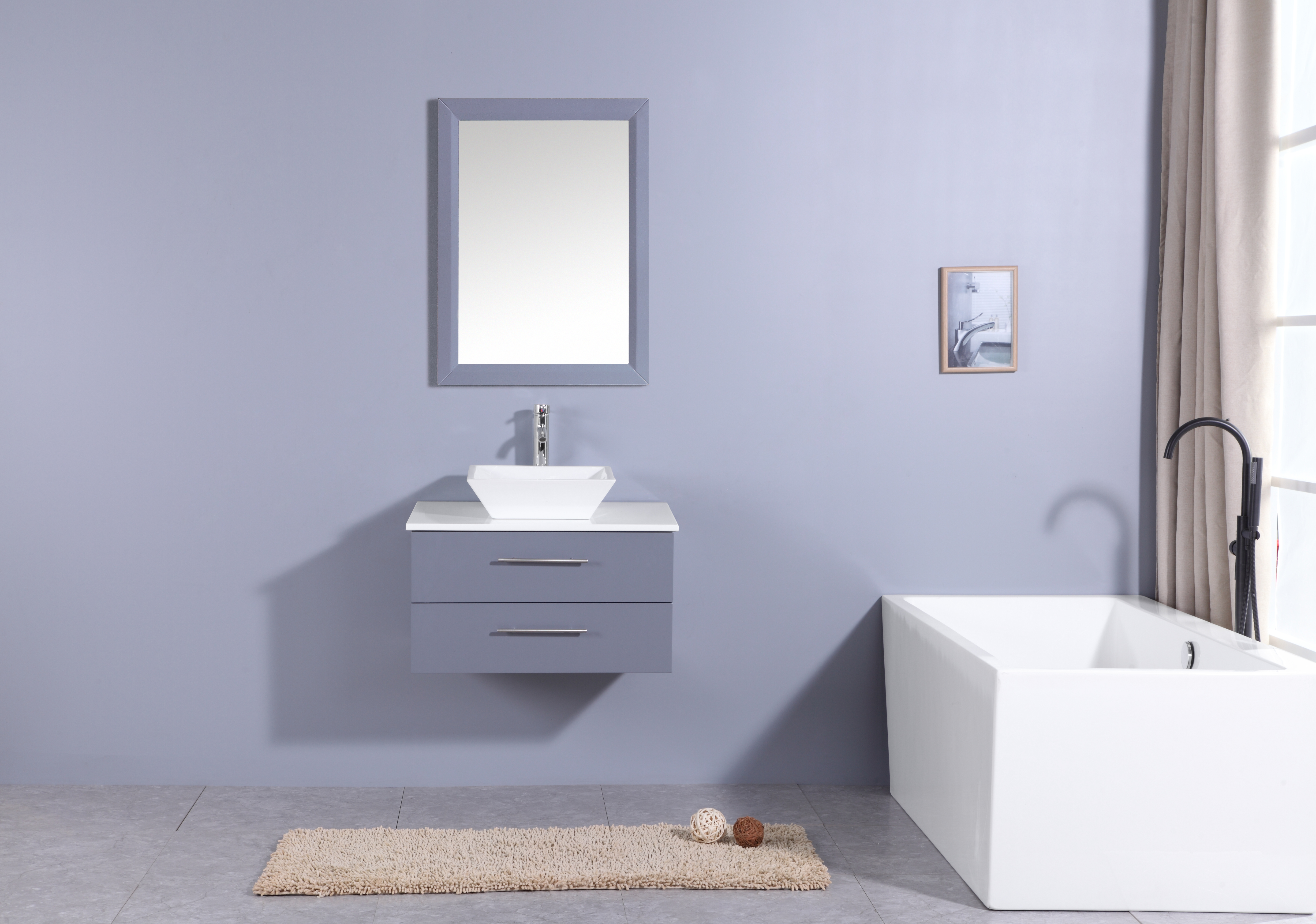 Totti Wave 24 Inch Grey Modern Bathroom Vanity With Counter Top