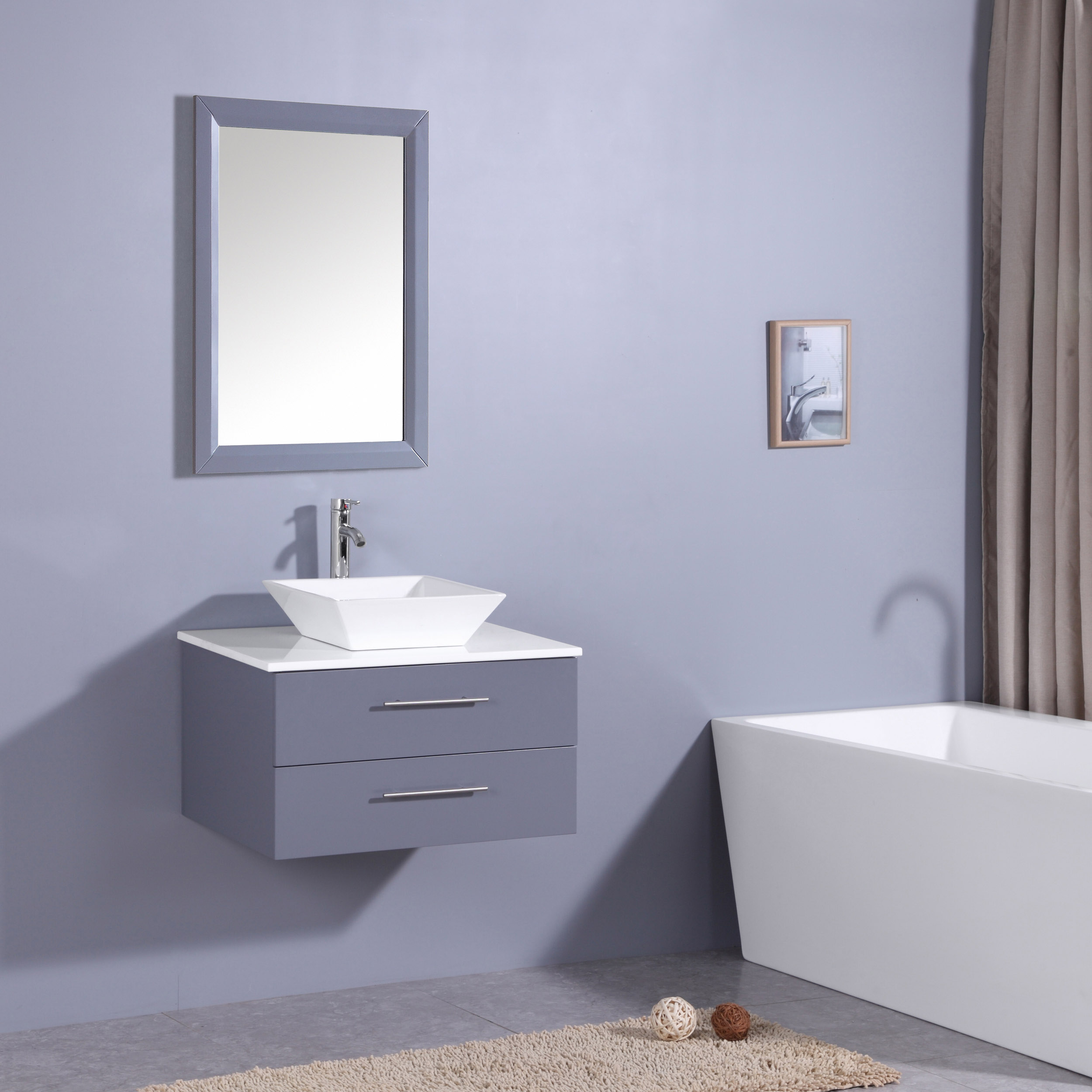 . Totti Wave 30 Inch Gray Modern Bathroom Vanity With Counter Top And Sink