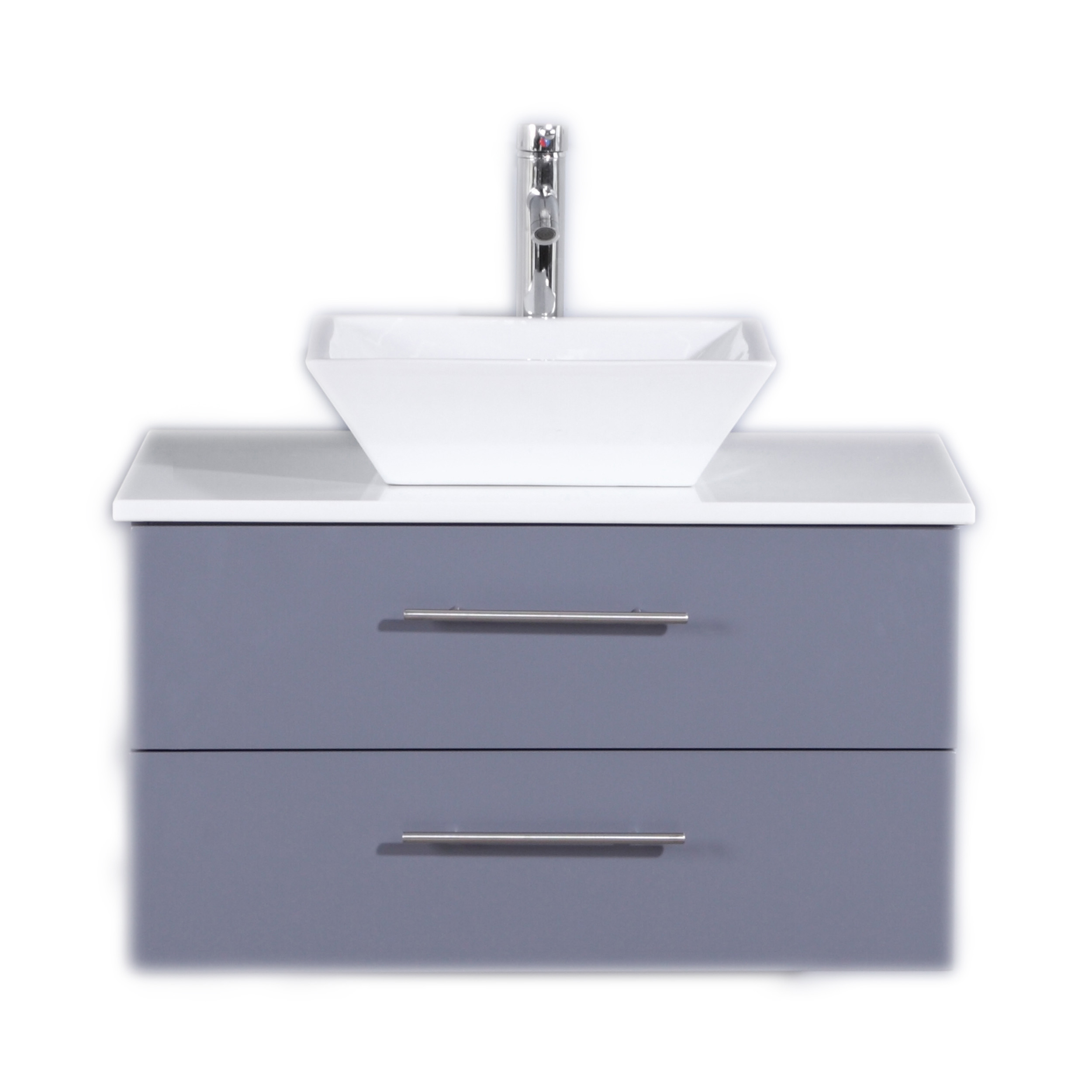 Totti Wave 30 Inch Gray Modern Bathroom Vanity With Counter Top