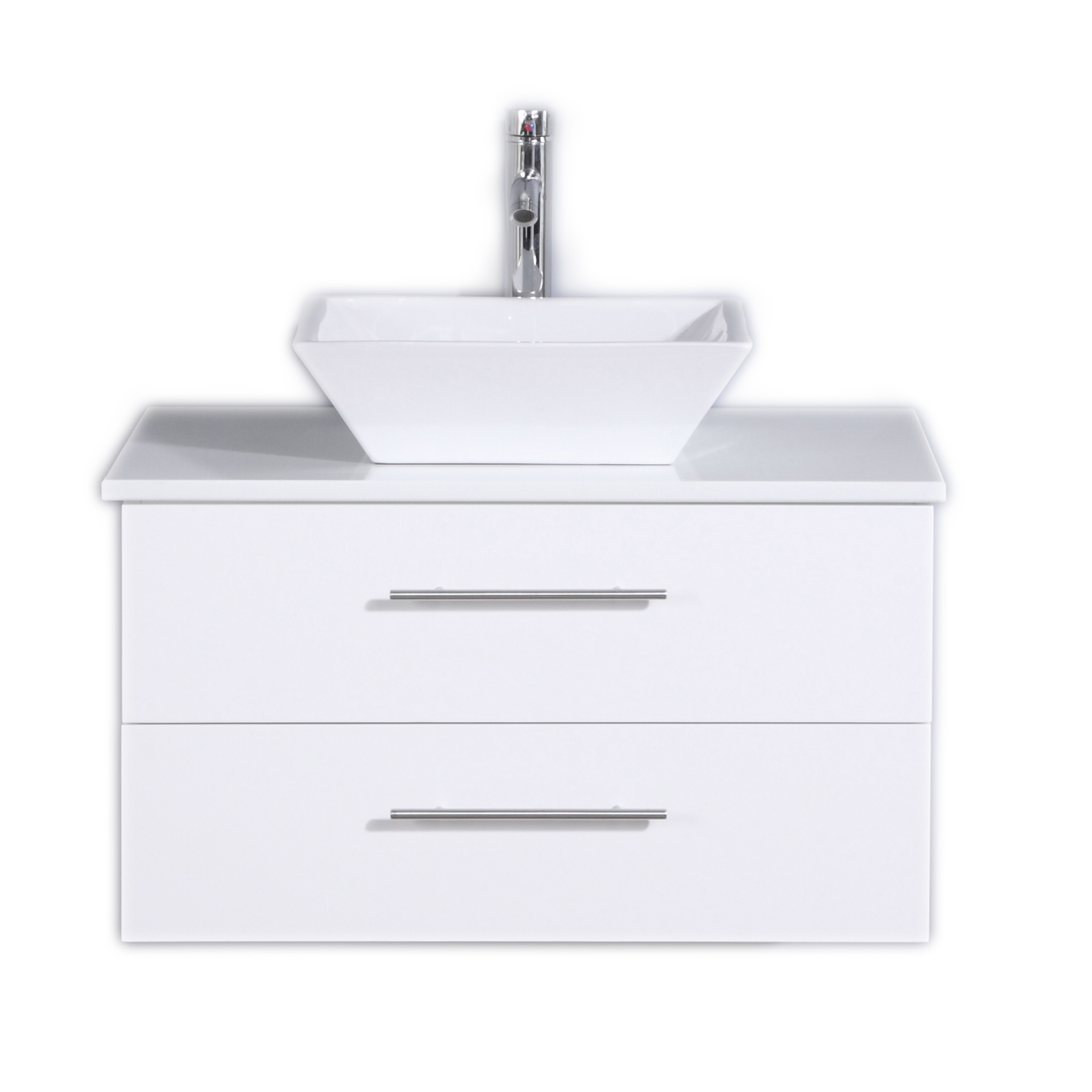 Totti Wave 30 Inch White Modern Bathroom Vanity With Counter Top