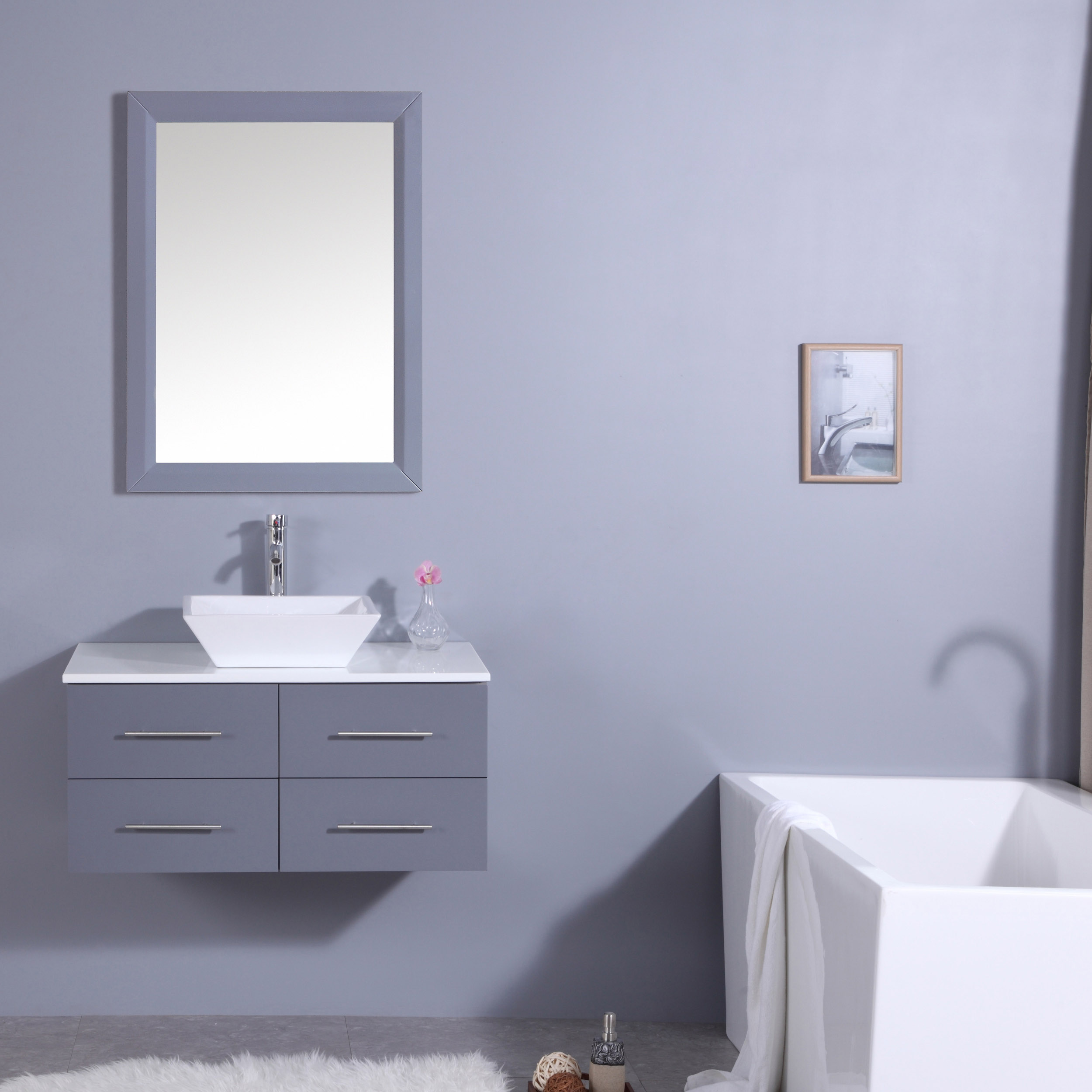 Totti Wave 36-Inch Gray Modern Bathroom Vanity With Counter-Top And ...