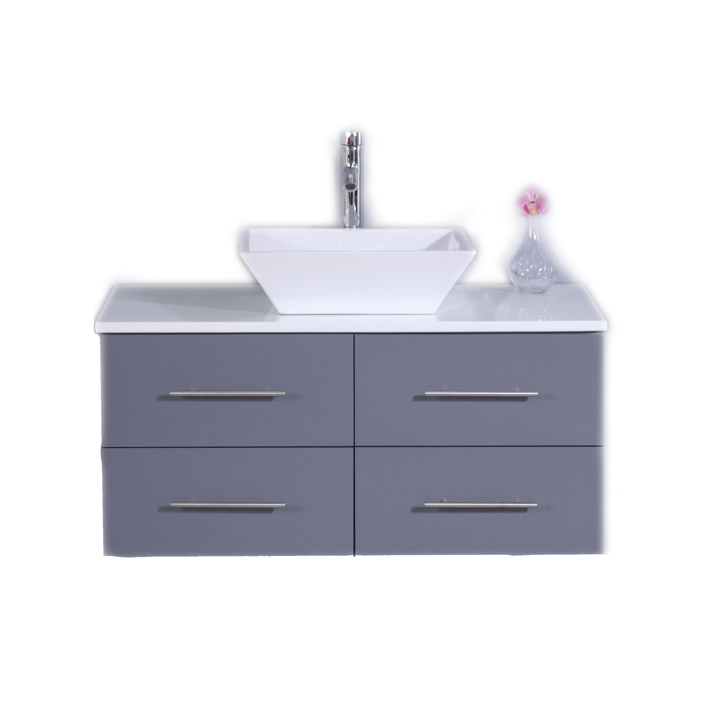 Totti Wave 36 Inch Gray Modern Bathroom Vanity With Counter Top And Sink Decors Us