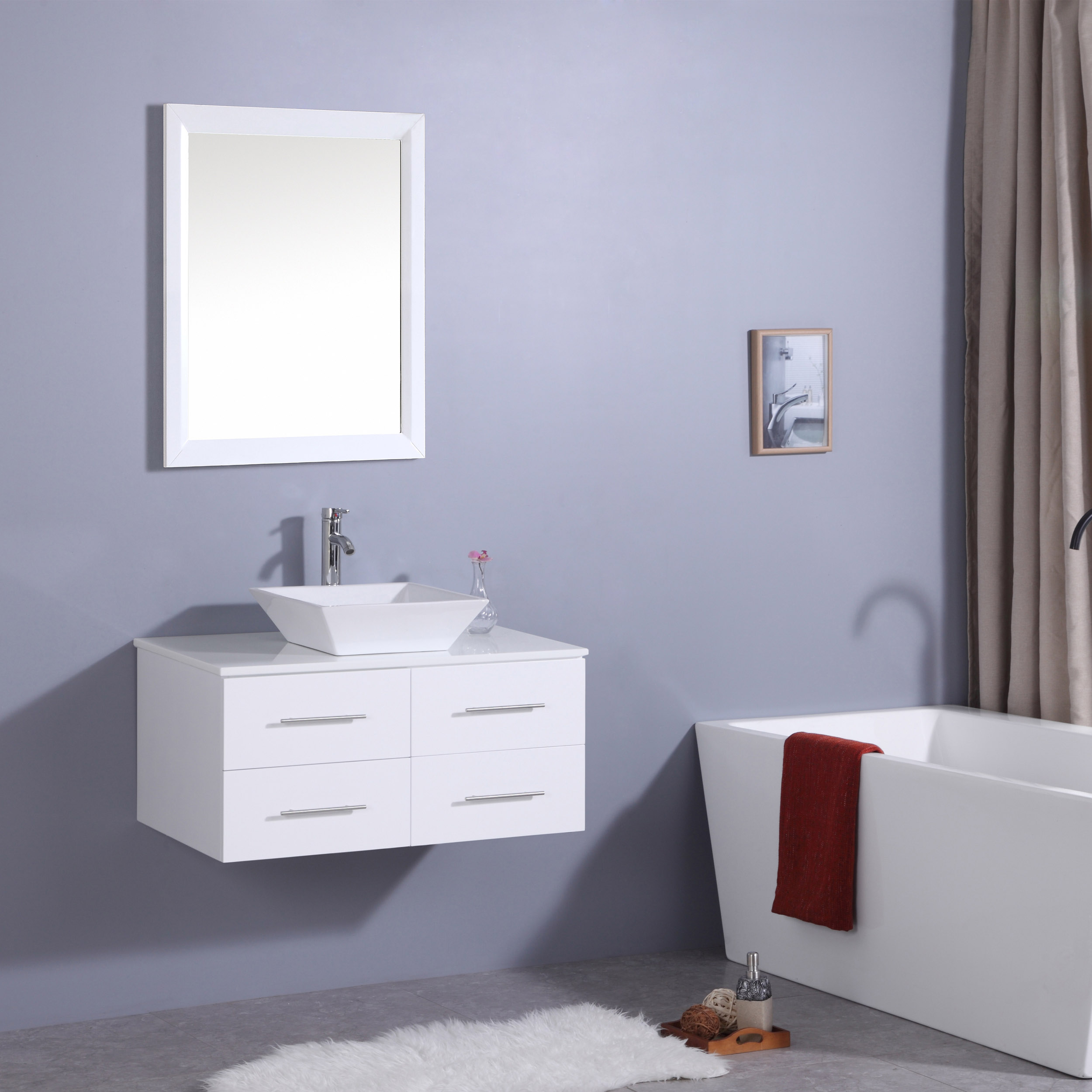 Totti Wave 36 Inch White Modern Bathroom Vanity With