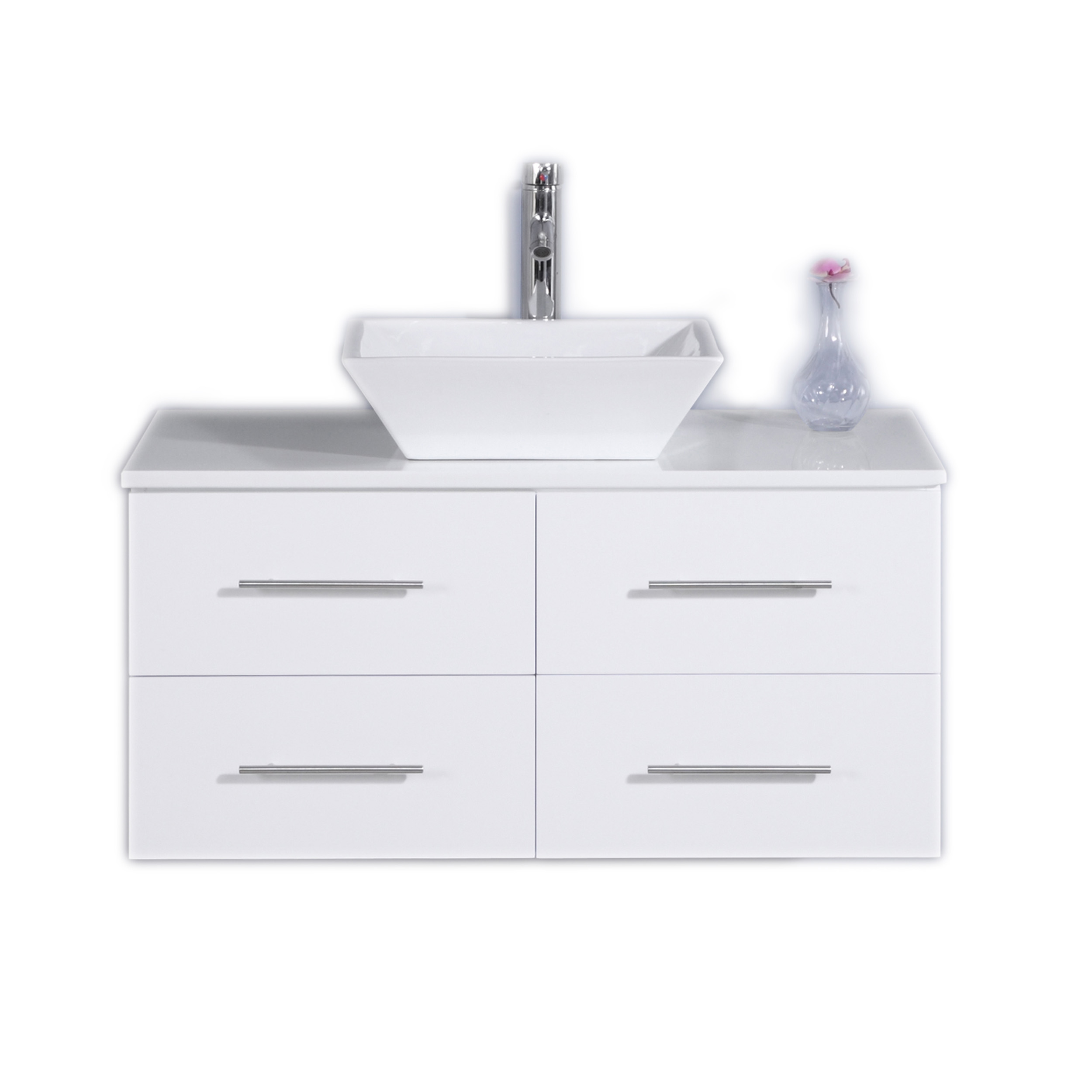 Totti Wave 36 Inch White Modern Bathroom Vanity With Counter Top And Sink