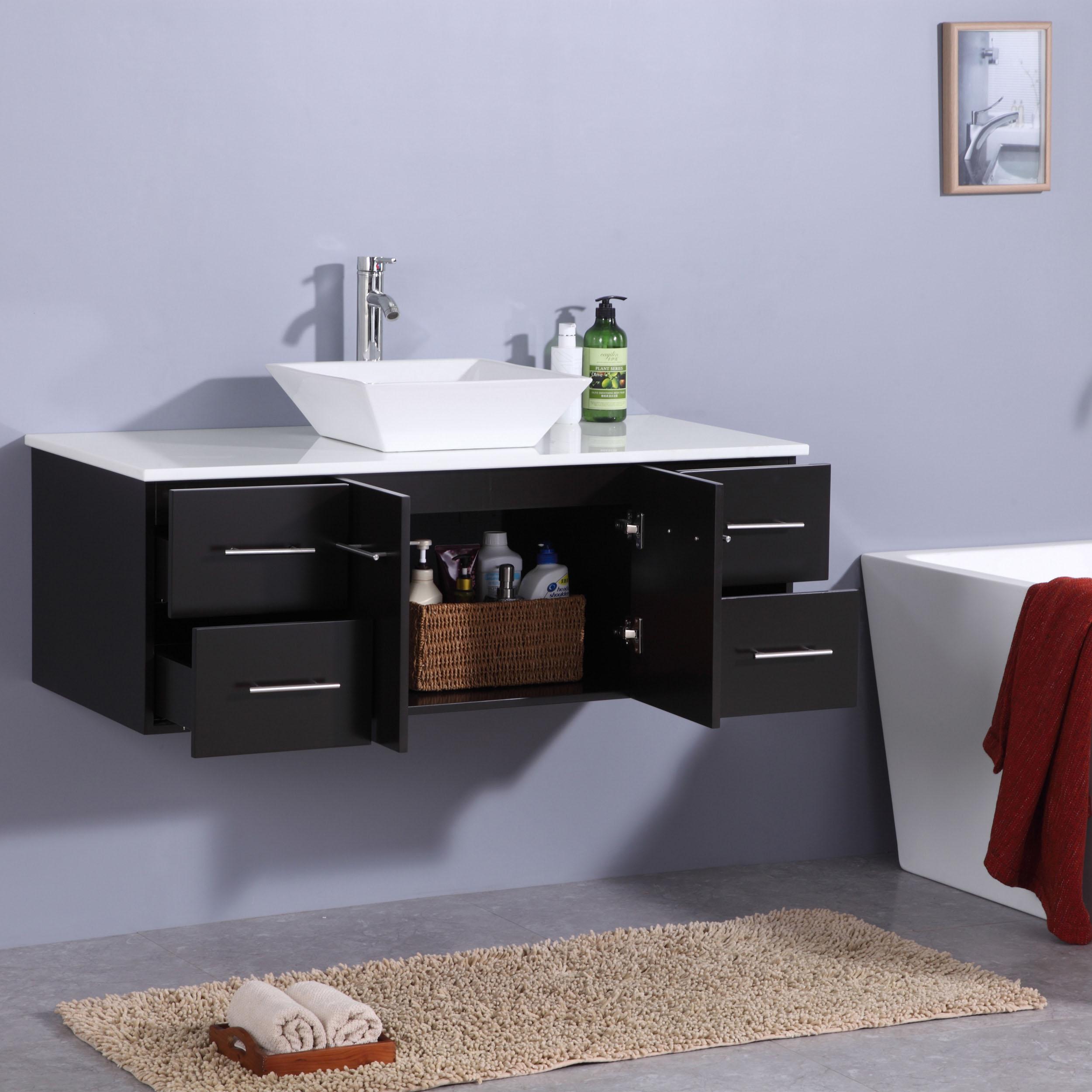 Totti Wave Inch Espresso Modern Bathroom Vanity With CounterTop - 48 inch modern bathroom vanity
