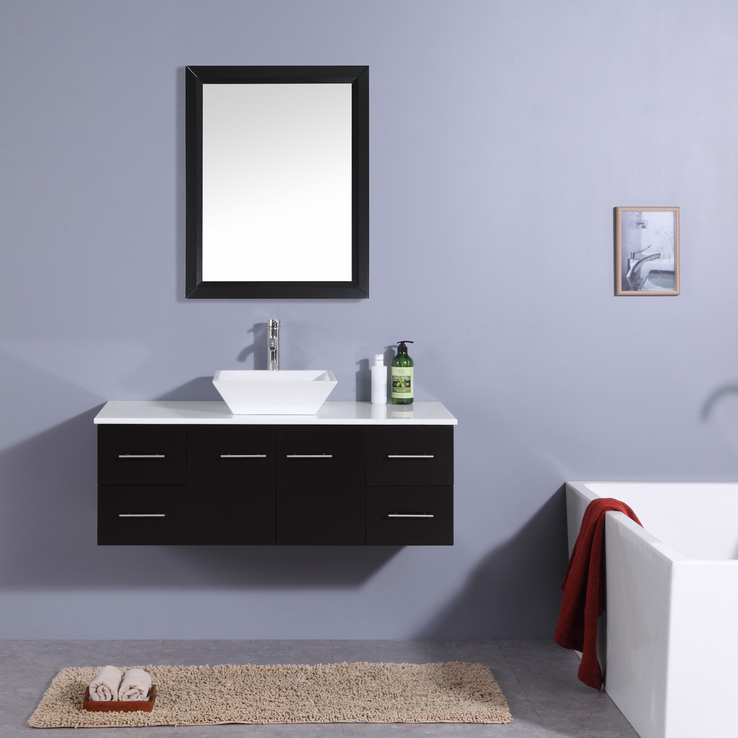 Totti Wave 48 Inch Espresso Modern Bathroom Vanity With Counter Top And Sink