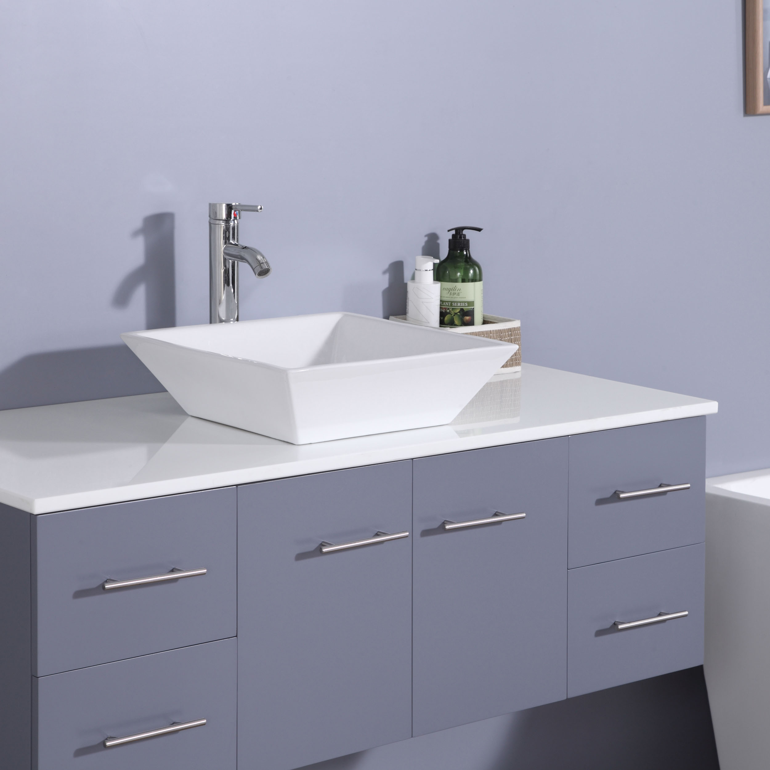 Totti Wave Inch Gray Modern Bathroom Vanity With CounterTop And - 48 inch grey bathroom vanity