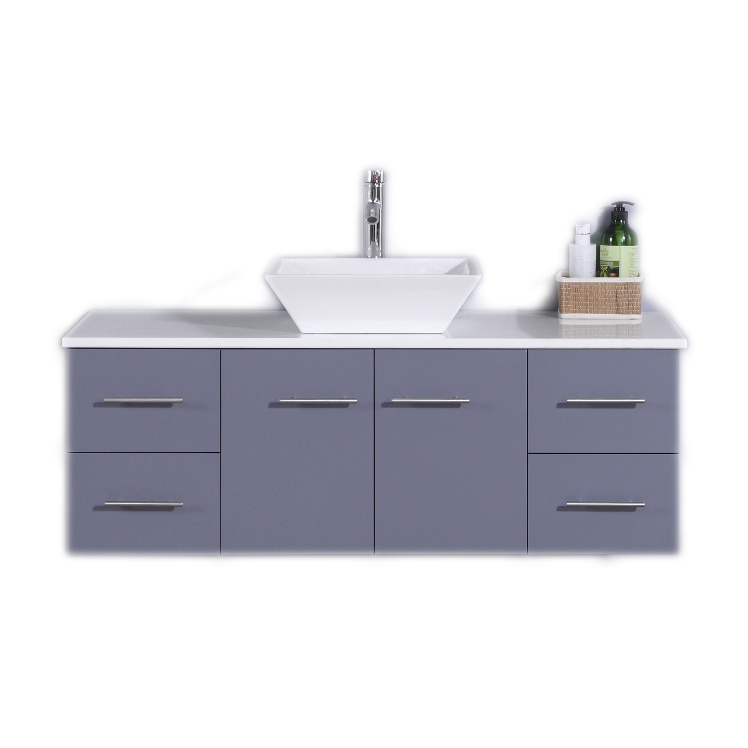 Totti Wave 48 Inch Gray Modern Bathroom Vanity With Counter Top And Sink