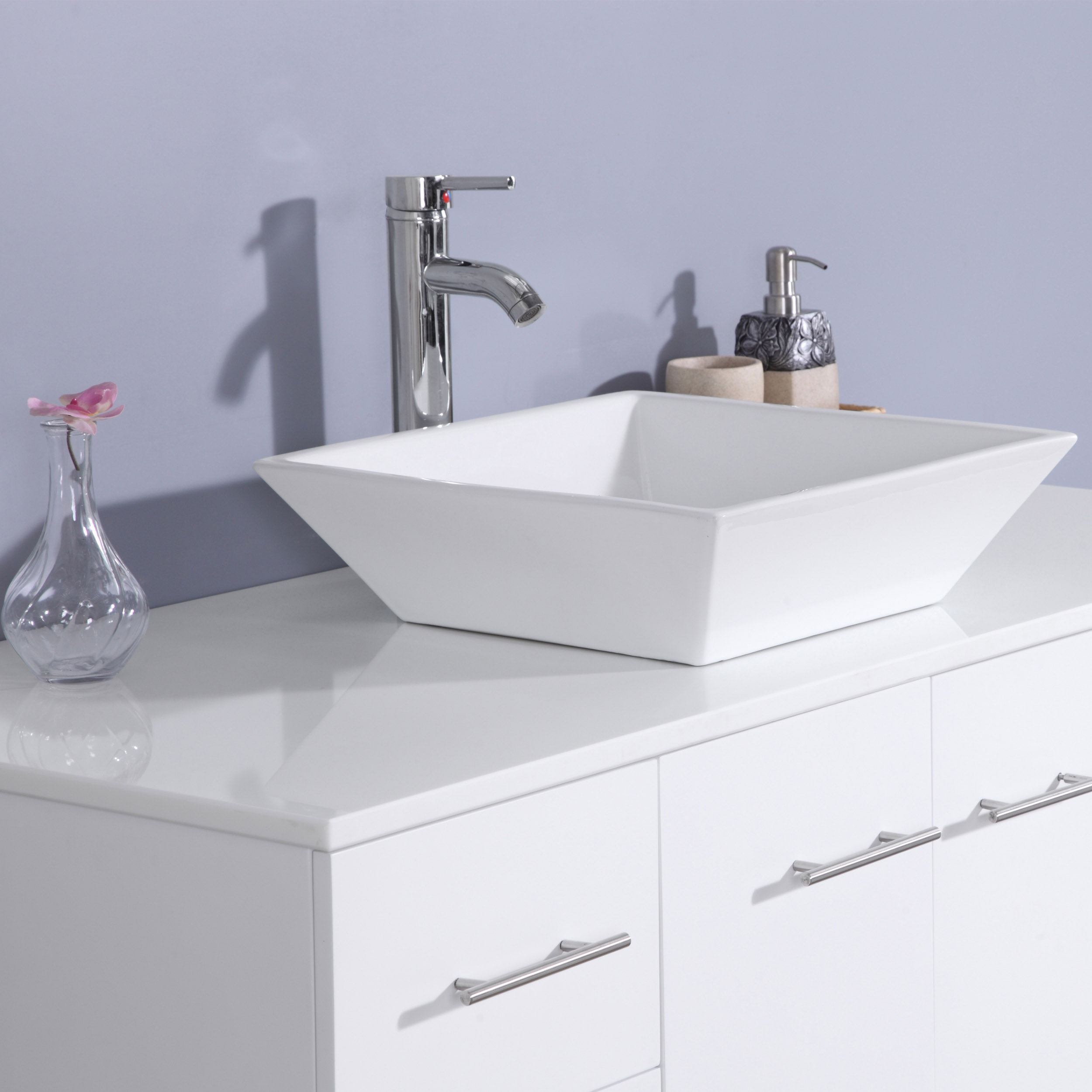 Totti Wave 48-Inch White Modern Bathroom Vanity With ...