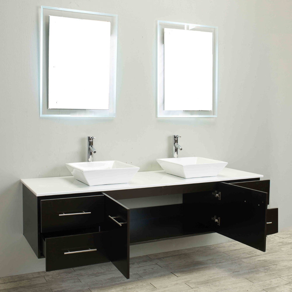 Totti Wave 60 Inch Espresso Modern Double Sink Bathroom