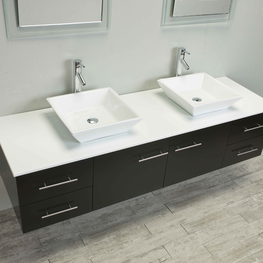 Totti Wave 60 inch Espresso Modern Double Sink Bathroom ...