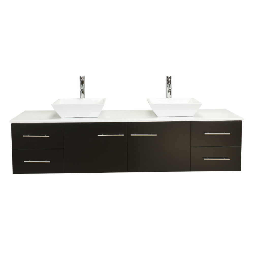 Totti Wave 60 Inch Espresso Modern Double Sink Bathroom Vanity With Counter Top And Sinks