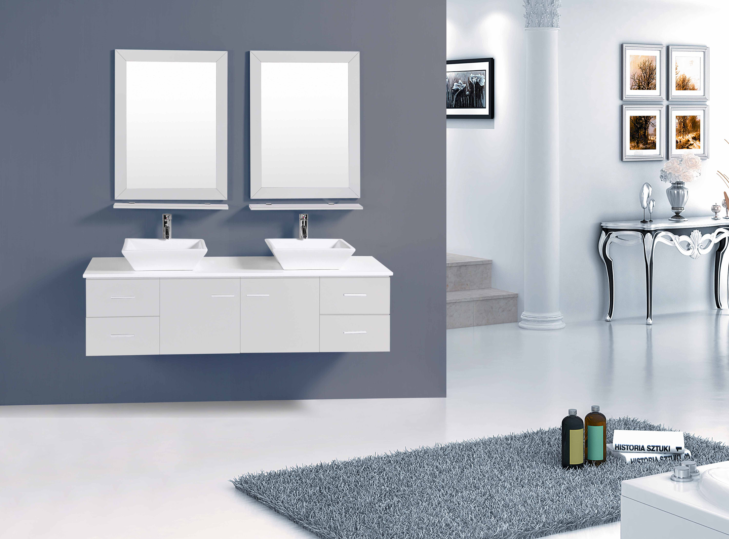 Totti Wave 60 inch Grey Modern Double Sink Bathroom Vanity With ...