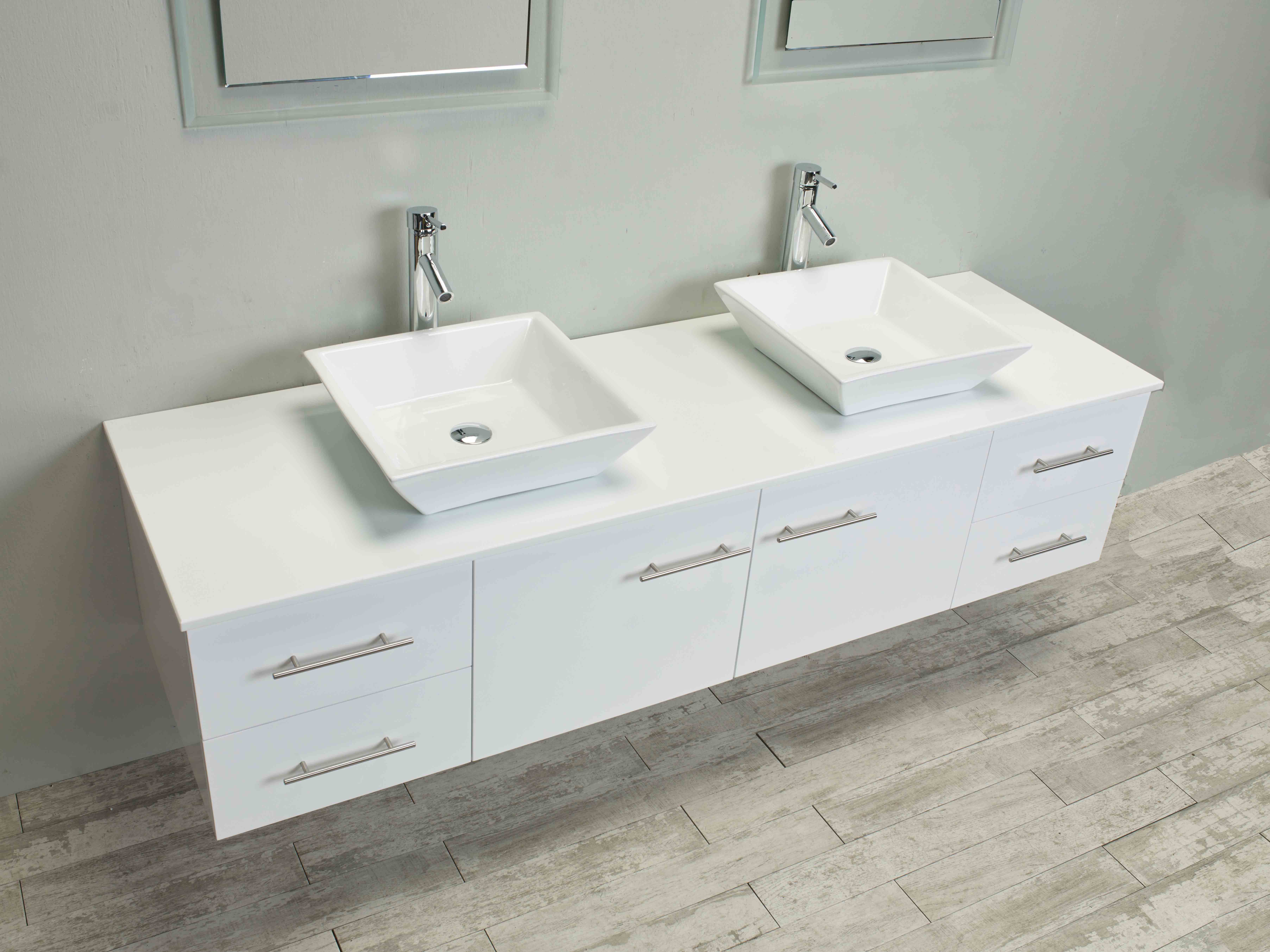 Totti Wave 60 inch White Modern Double Sink Bathroom ...