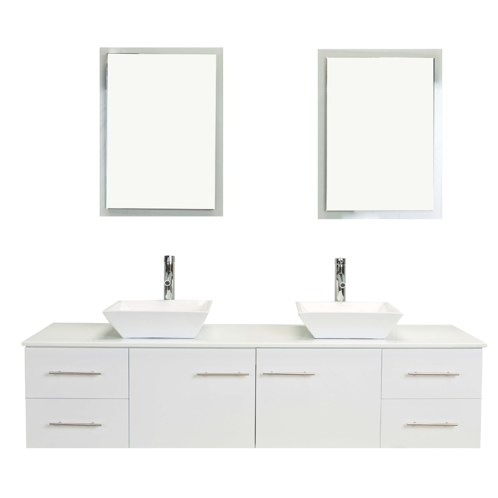 EVVN147 60WH A Main - Totti Wave 60 inch White Modern Double Sink Bathroom Vanity With Counter-Top And Double Sinks