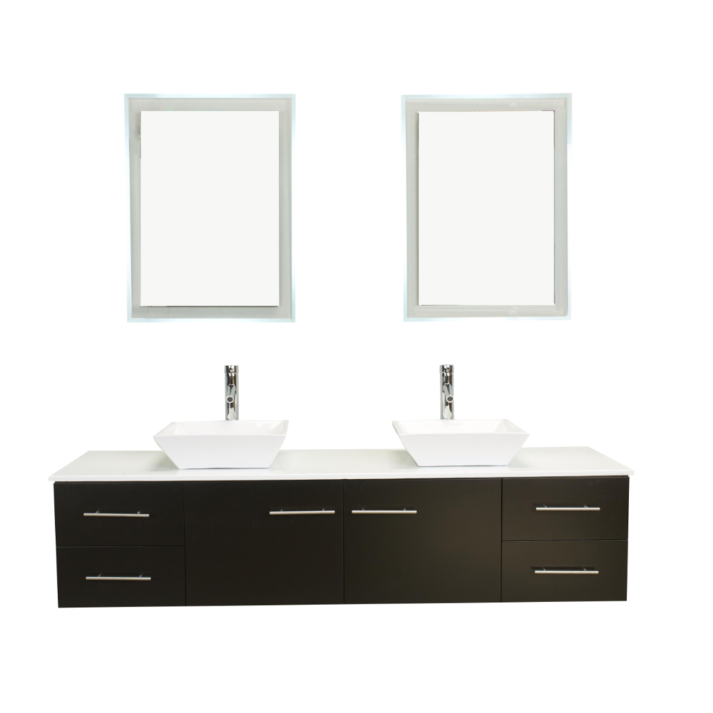 Totti Wave 72 Inch Espresso Modern Double Sink Bathroom Vanity With
