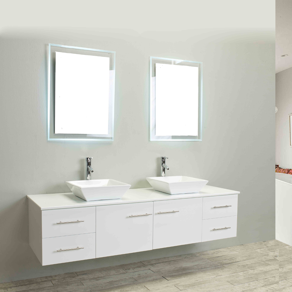 Totti Wave 72 Inch White Modern Double Sink Bathroom Vanity With