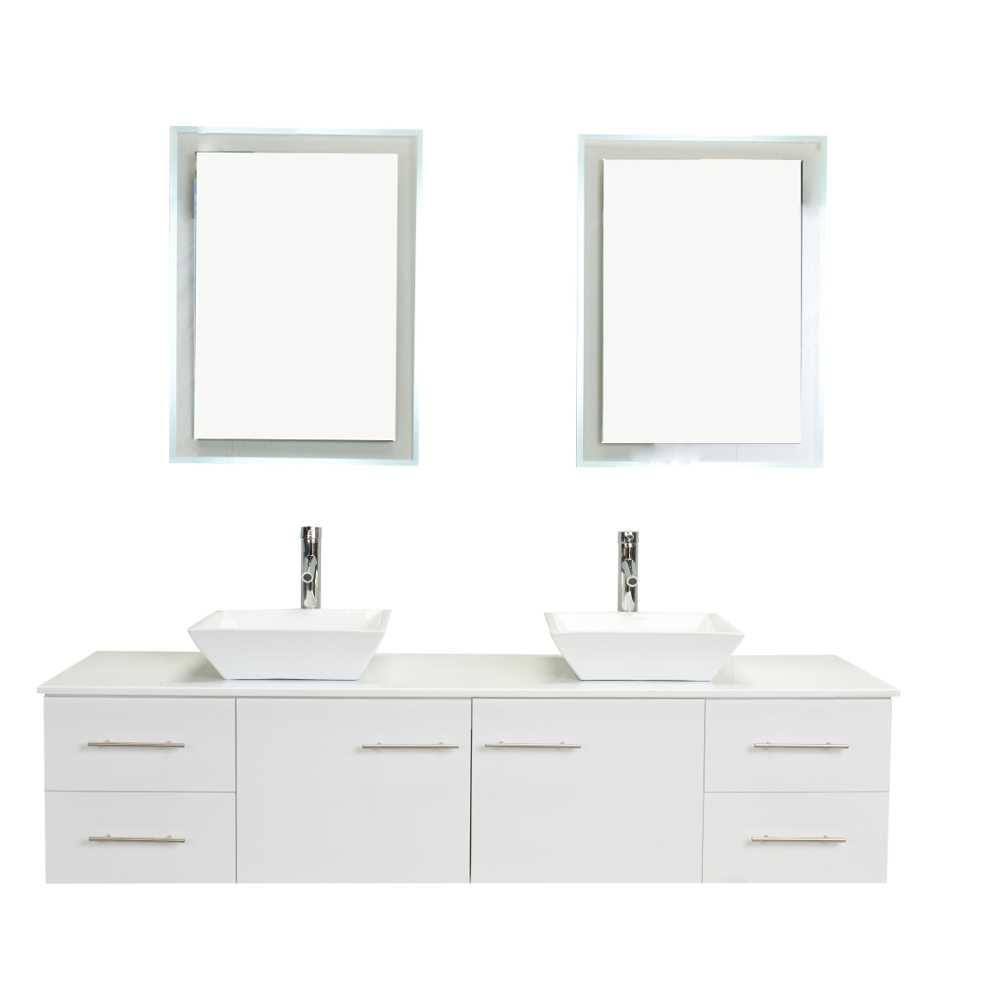 Totti wave 72 inch white modern double sink bathroom for Vanity top cabinet
