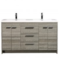 "EVVN1500 8 60ASH A Main 202x202 - Eviva Lugano 60"" Ash Modern Bathroom Vanity with White Integrated Acrylic Double Sink"