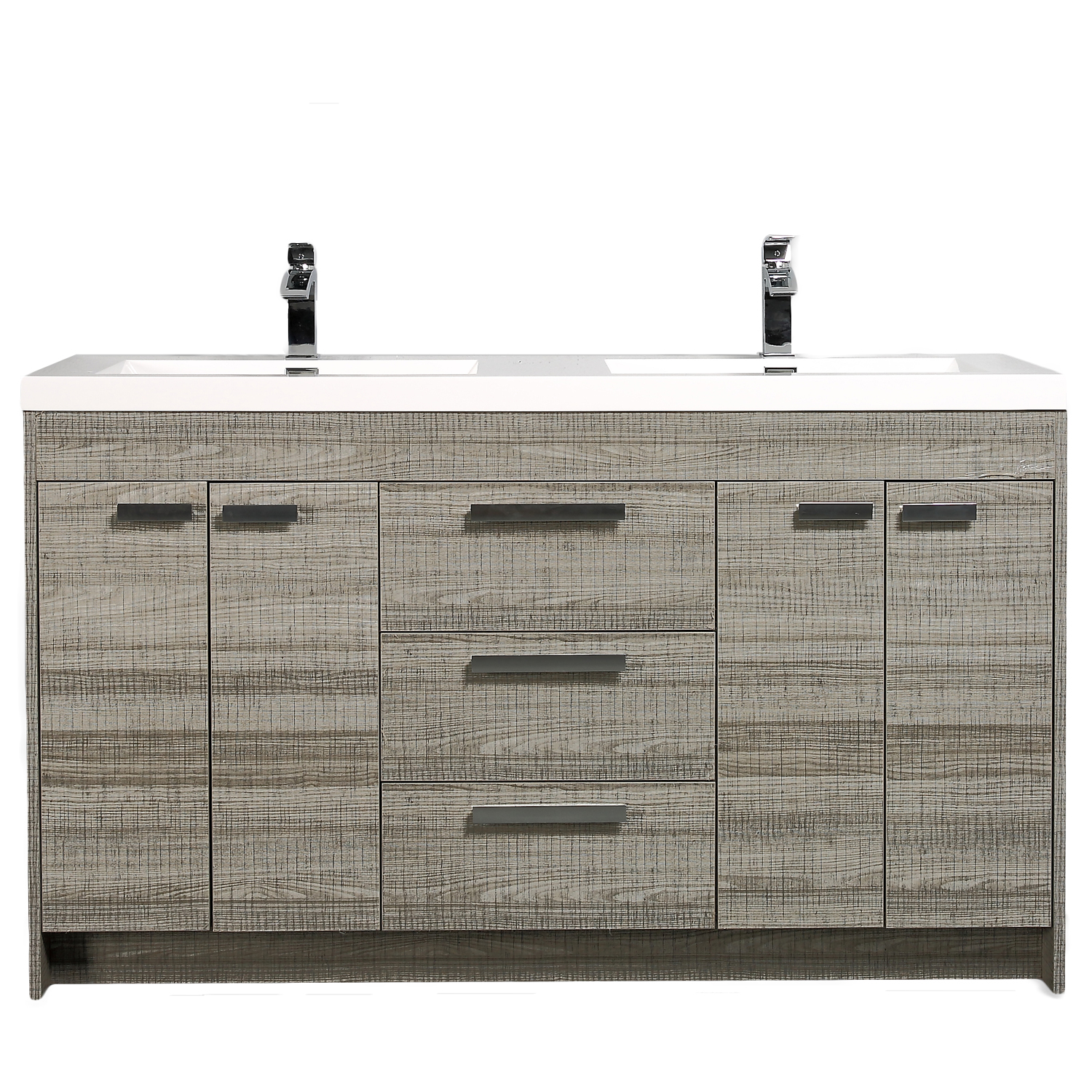 "EVVN1500 8 60ASH A Main - Eviva Lugano 60"" Ash Modern Bathroom Vanity with White Integrated Acrylic Double Sink"
