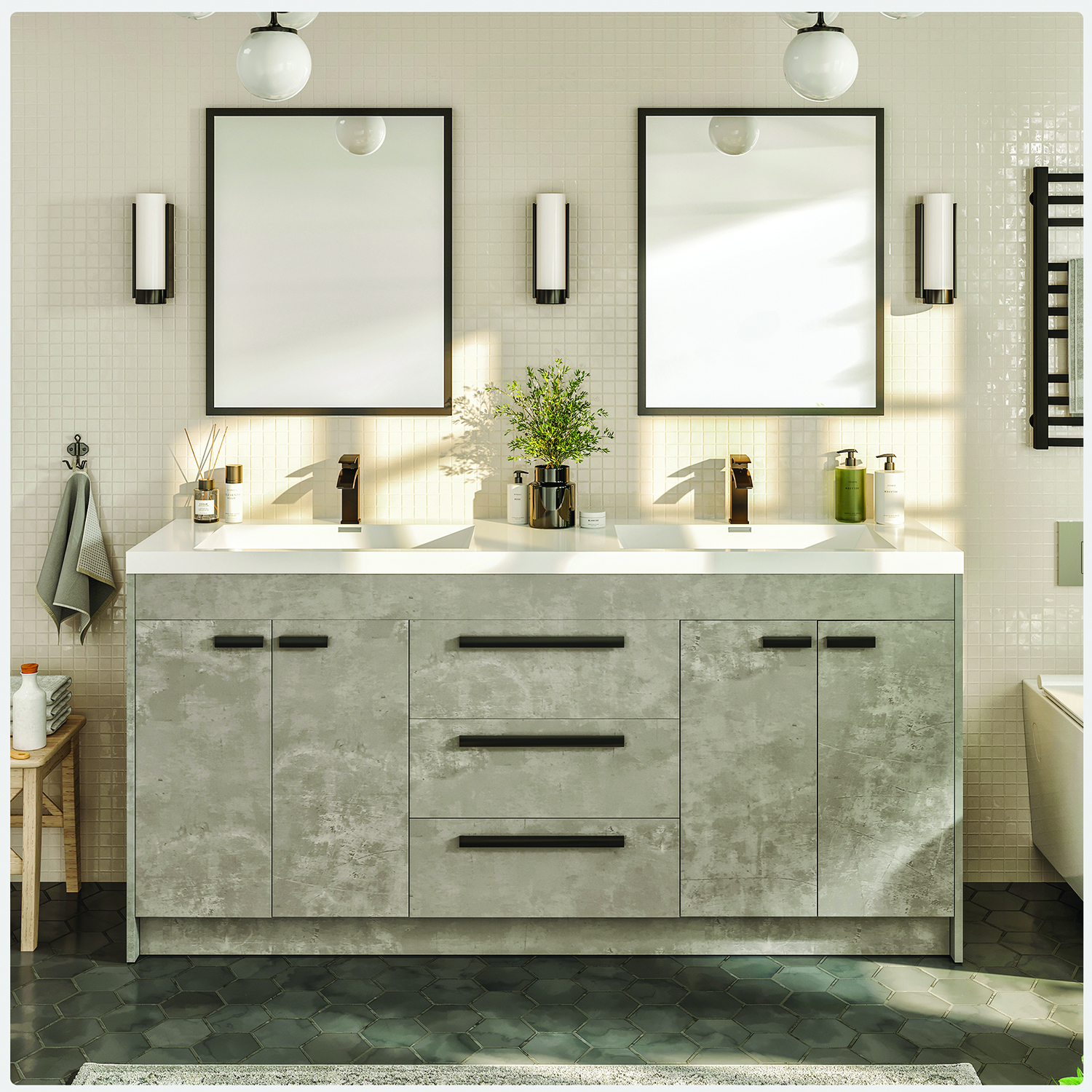 Eviva Lugano 60 Cement Grey Modern Bathroom Vanity With White Integrated Acrylic Sink Decors Us