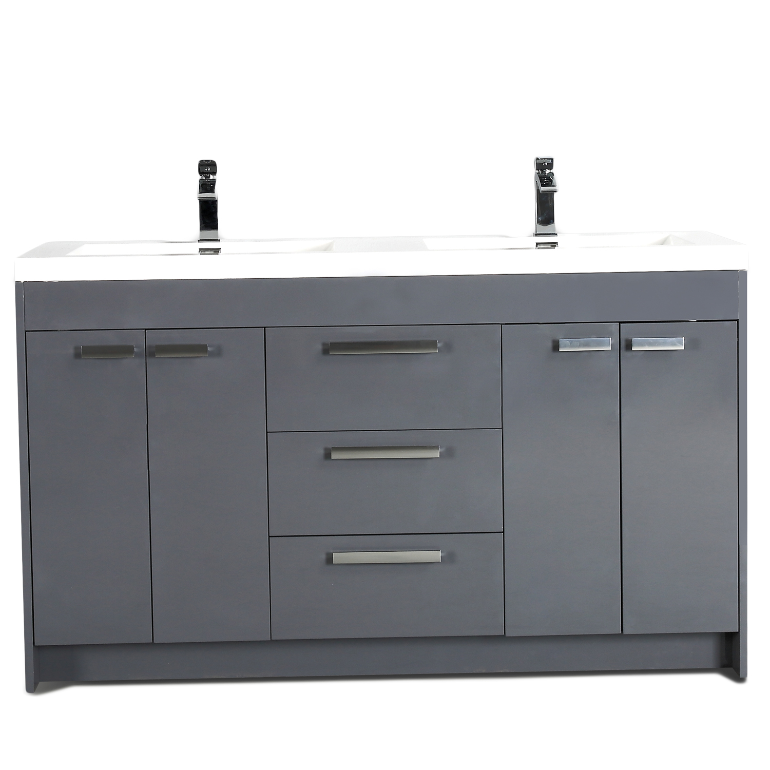Eviva Lugano 60 Gray Modern Bathroom Vanity With White Integrated Acrylic Double Sink Decors Us