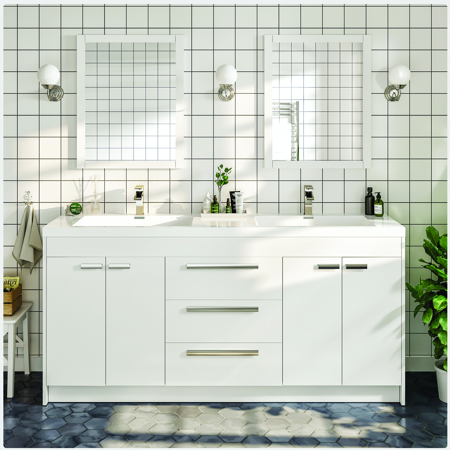 Eviva Lugano 60 White Modern Bathroom
