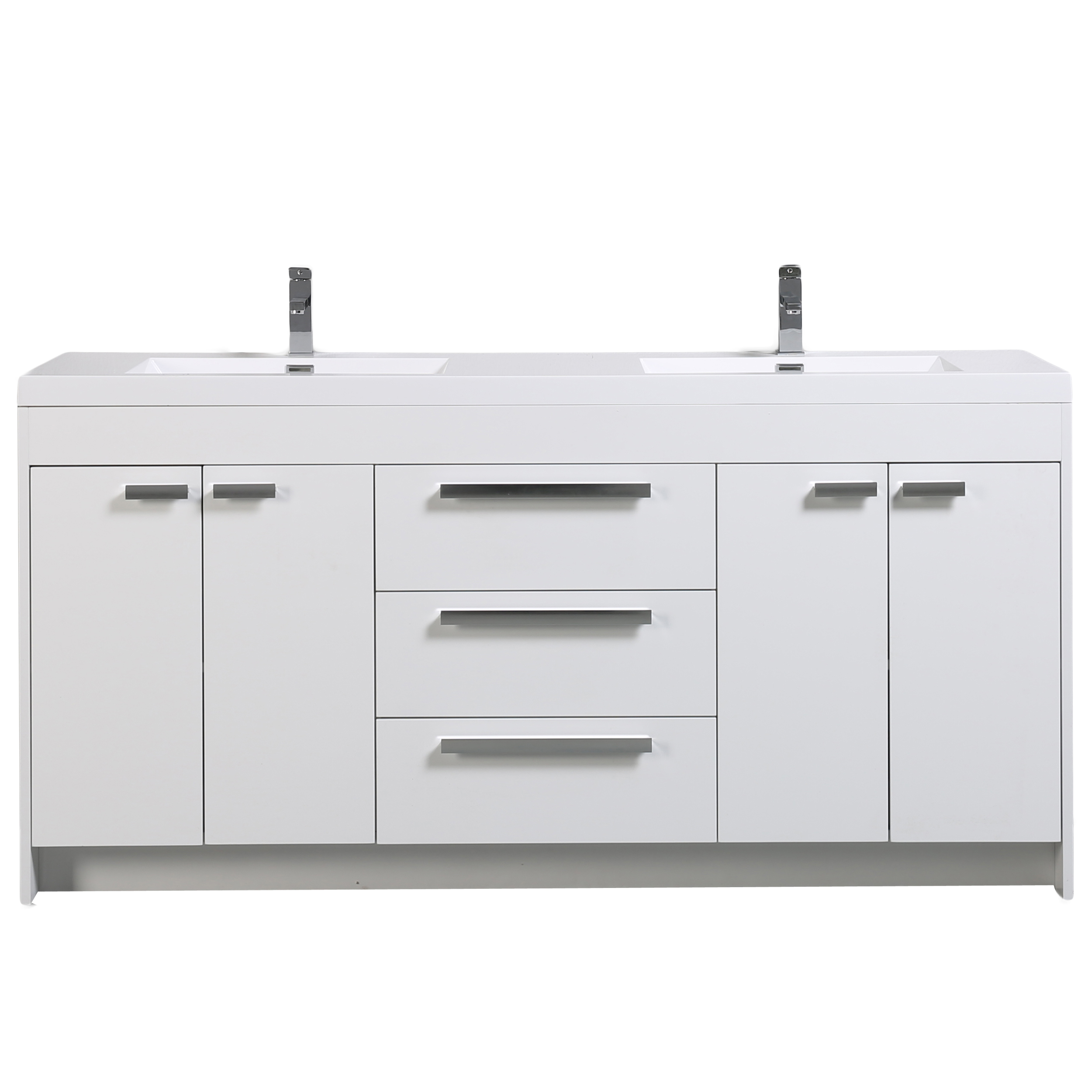 Eviva Lugano 72 White Modern Bathroom Vanity With Integrated Acrylic Double Sink