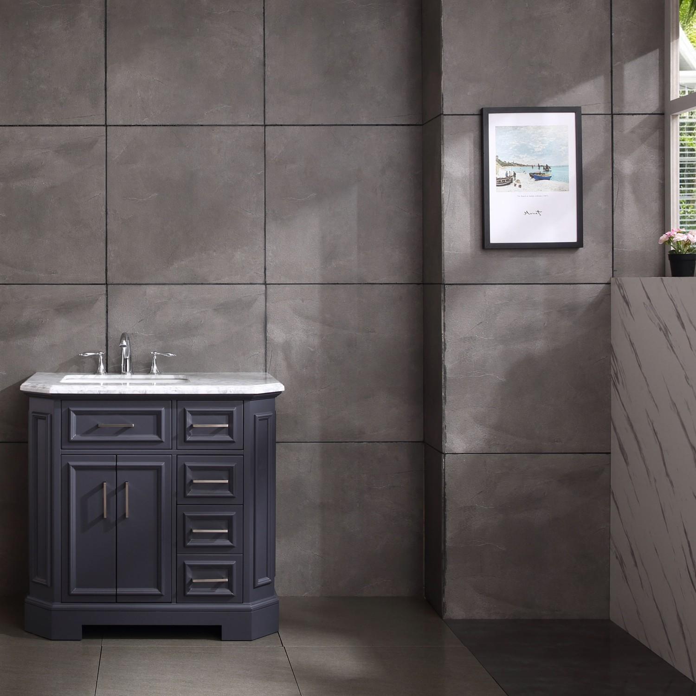 Eviva Glory 42 Dark Grey Bathroom Vanity With Carrara Marble Counter Top And Porcelain Sink