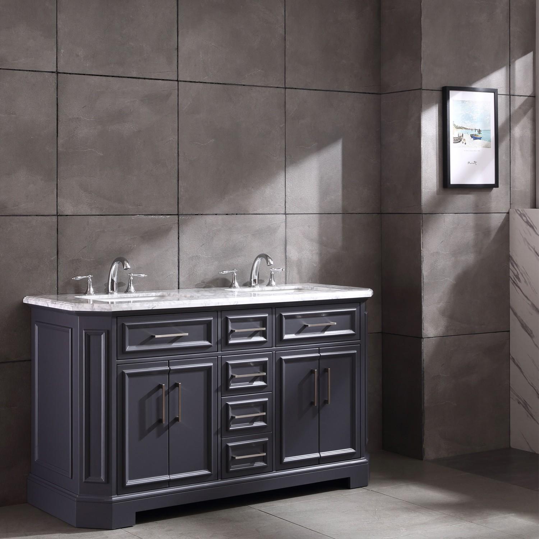 Eviva Glory 60 Dark Grey Bathroom Vanity With Carrara Marble Counter Top And Porcelain Sink Decors Us