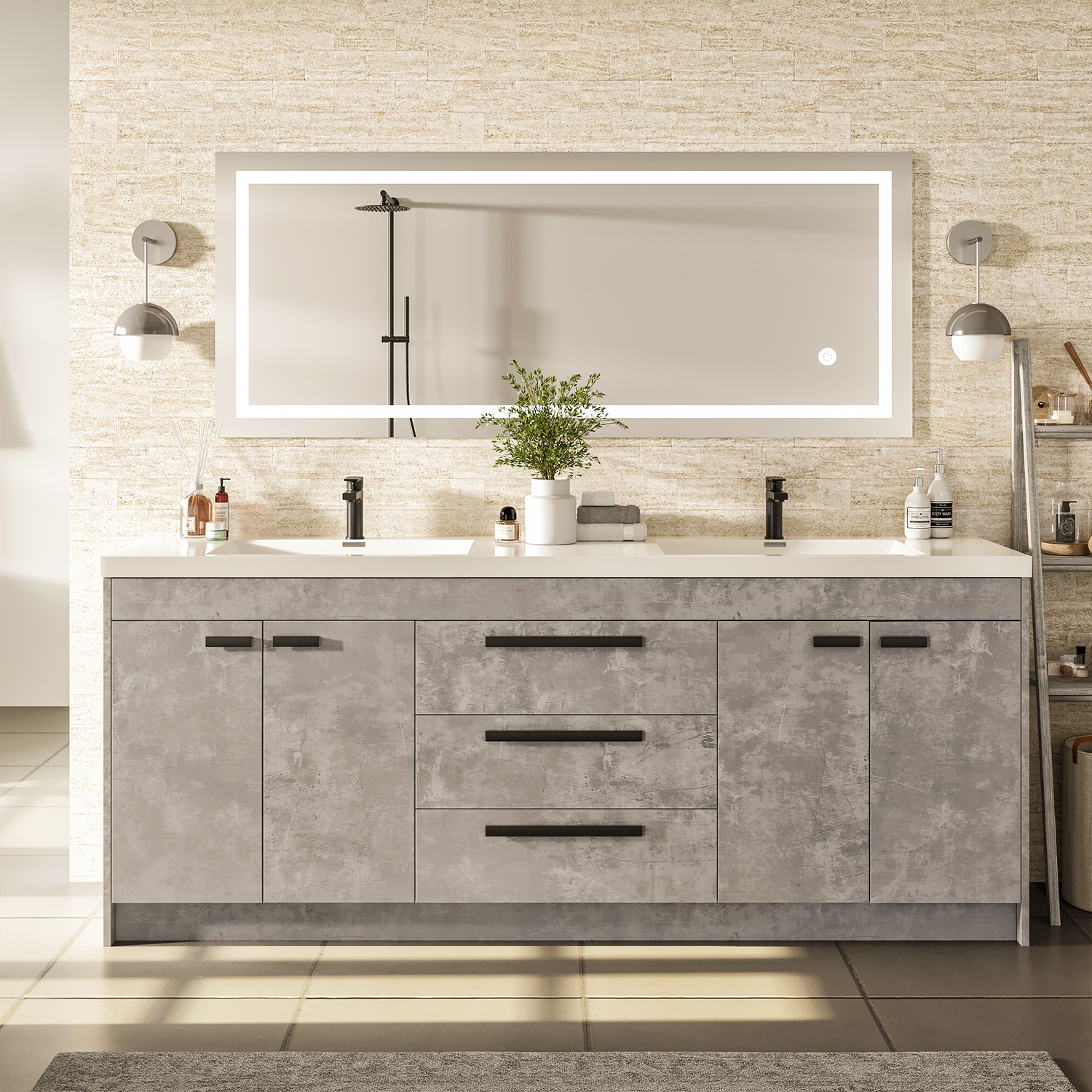 Cement Grey Modern Bathroom Vanity