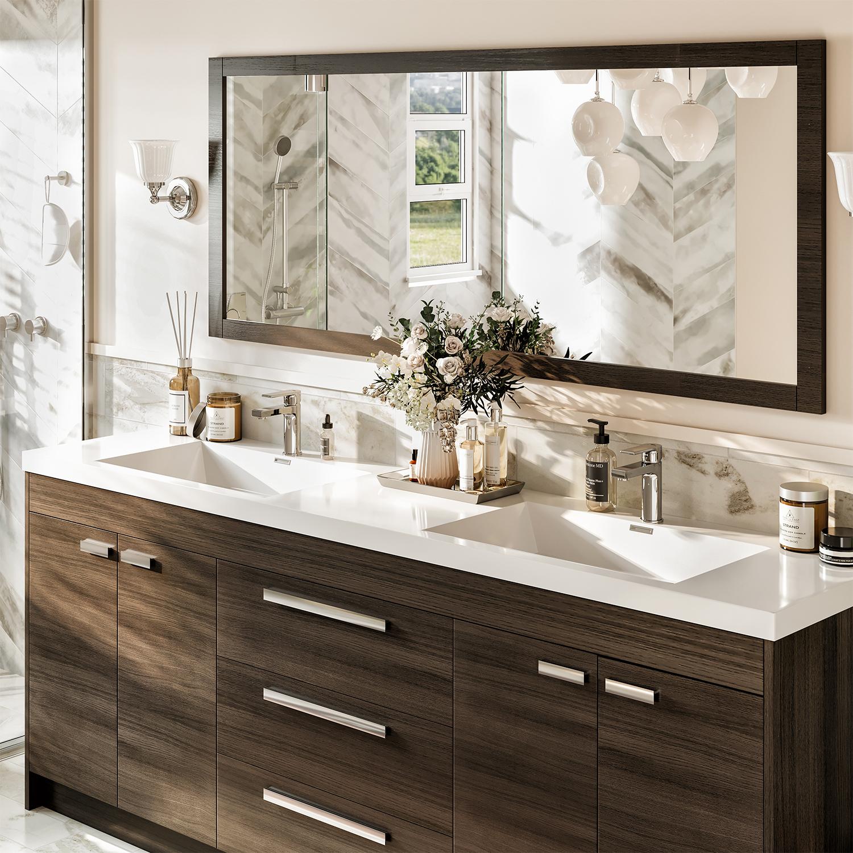 Eviva Lugano 84 Grey Oak Modern Bathroom Vanity With White Integrated Acrylic Double Sink Decors Us