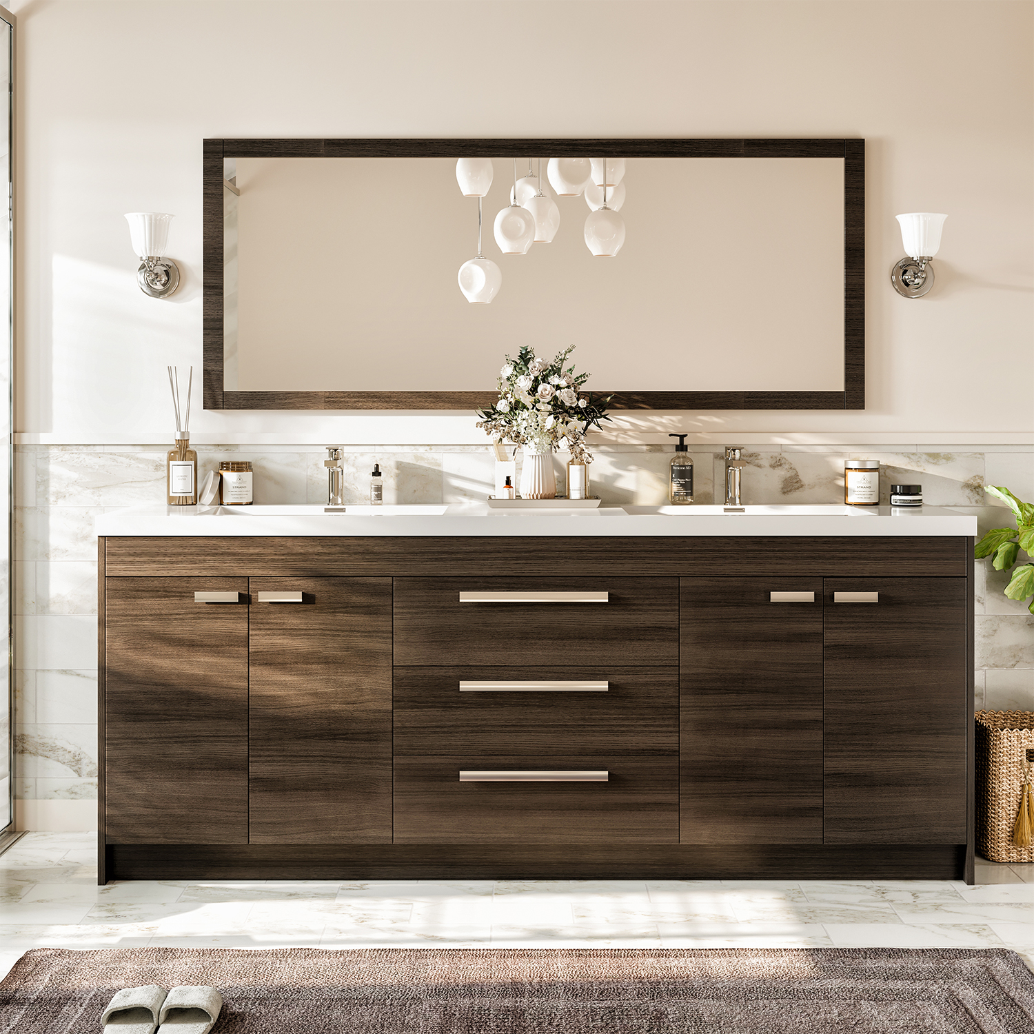 Eviva lugano 84 grey oak modern bathroom vanity with - Modern double sink bathroom vanities ...