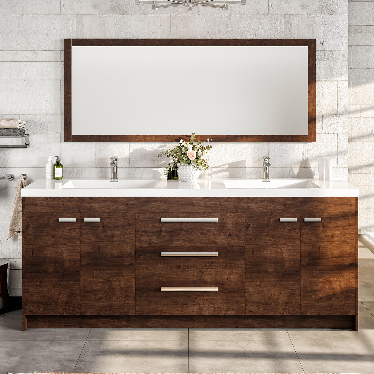 "EVVN1900 8 84RSWD A Main - Eviva Lugano 84"" Rosewood Modern Bathroom Vanity with White Integrated Acrylic Double Sink"