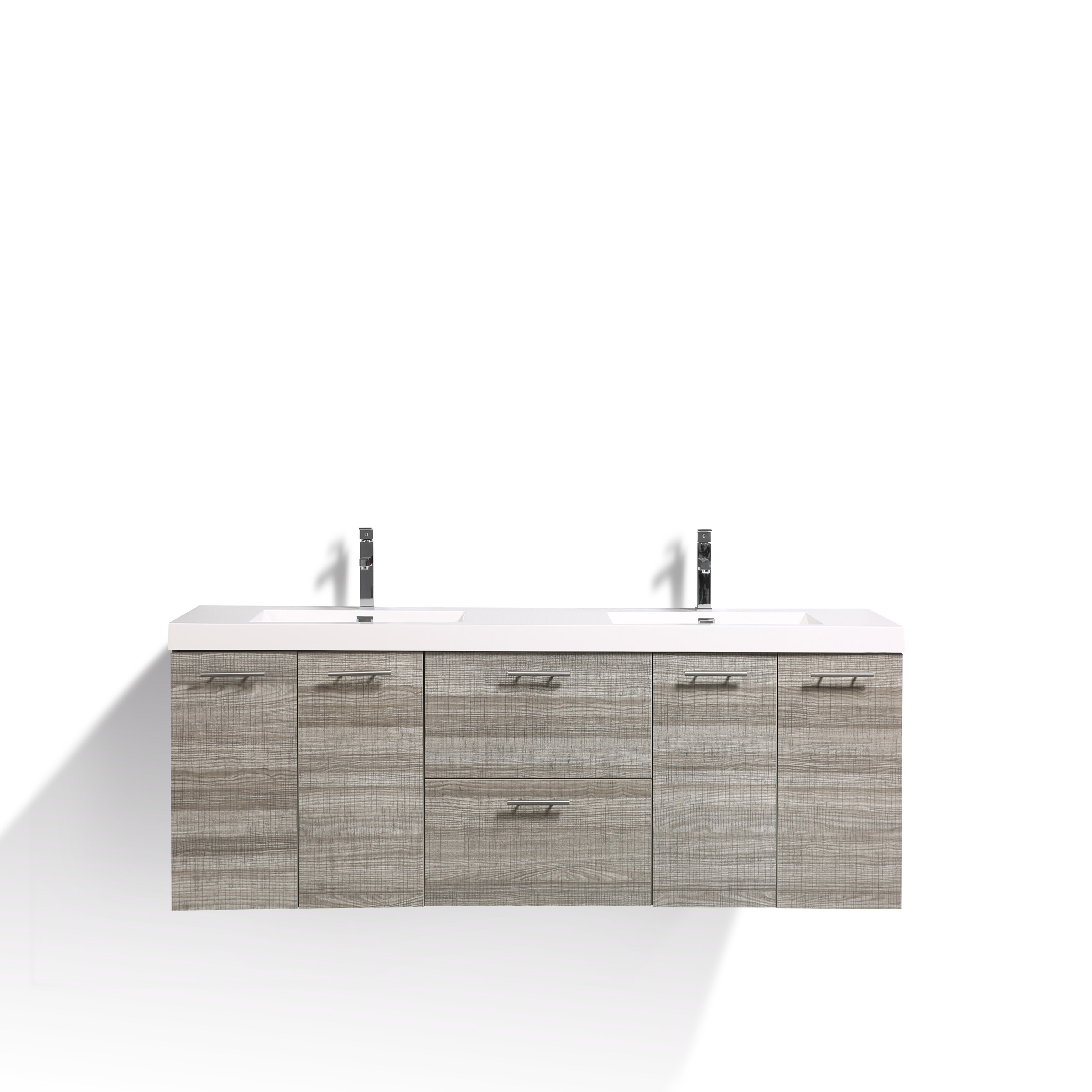 EVVN2100 84ASH DS A Main - Eviva Luxury 84 inch Ash bathroom vanity with integrated acrylic sinks